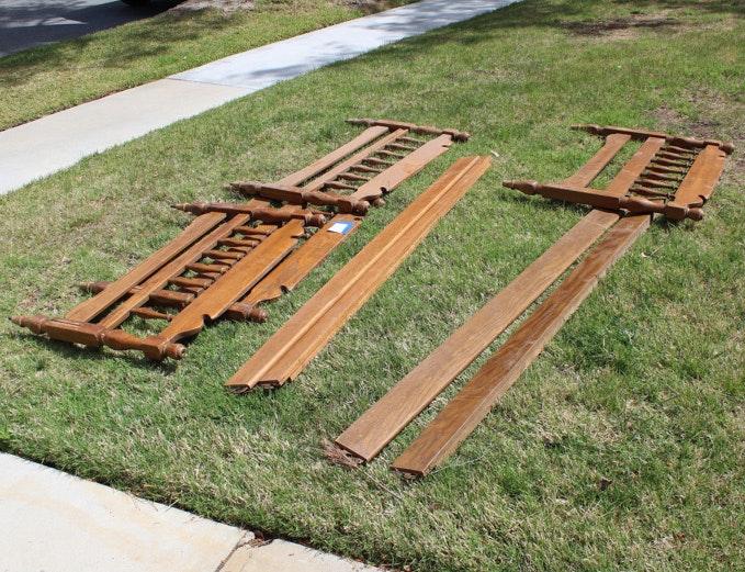 Colonial Style Oak Twin Bunk Bed Frames