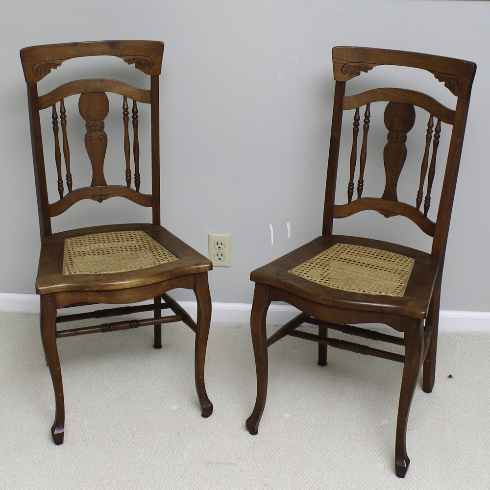 Pair of Vintage Walnut Side Chairs with Cane Seats