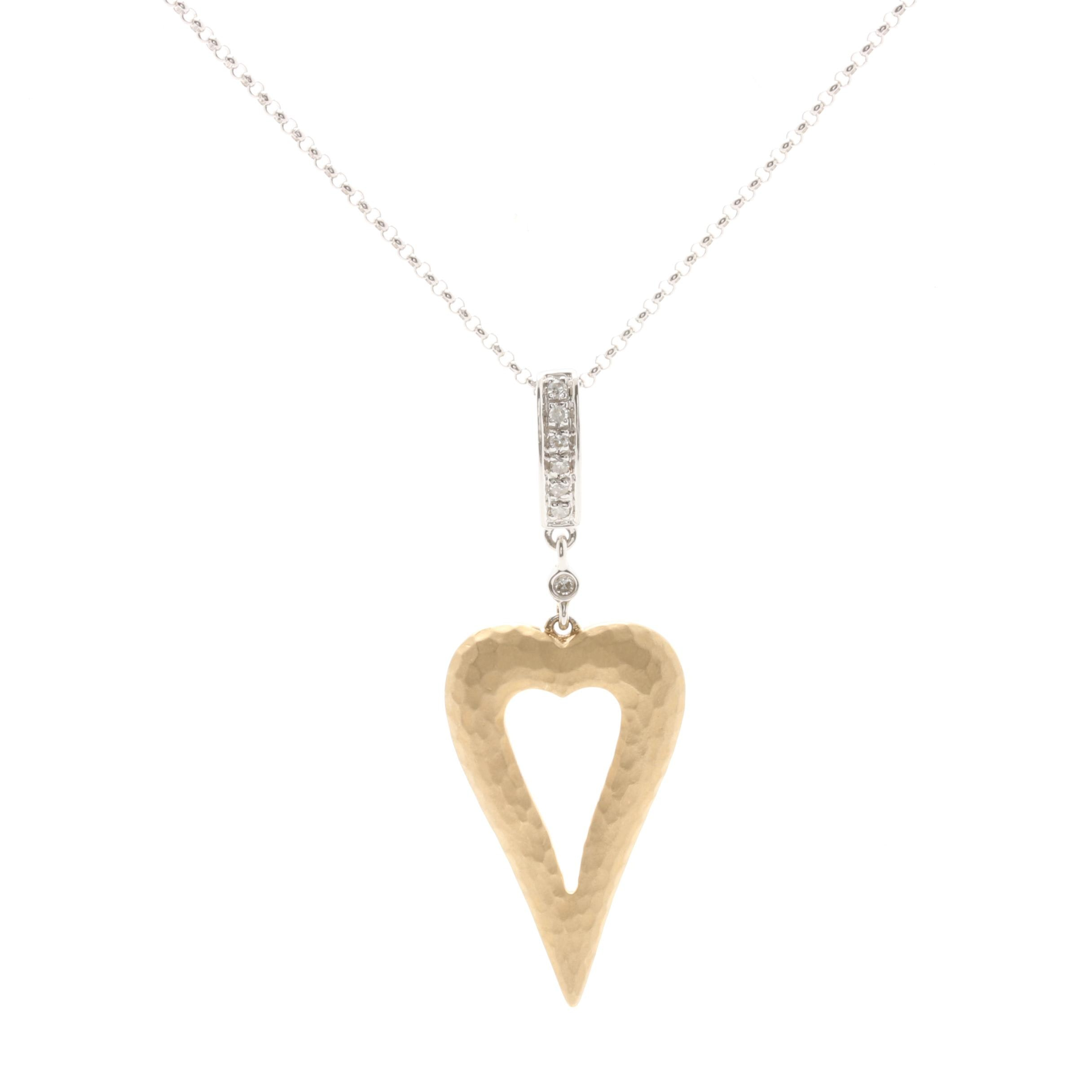 14K White and Yellow Gold Diamond Pendant Necklace