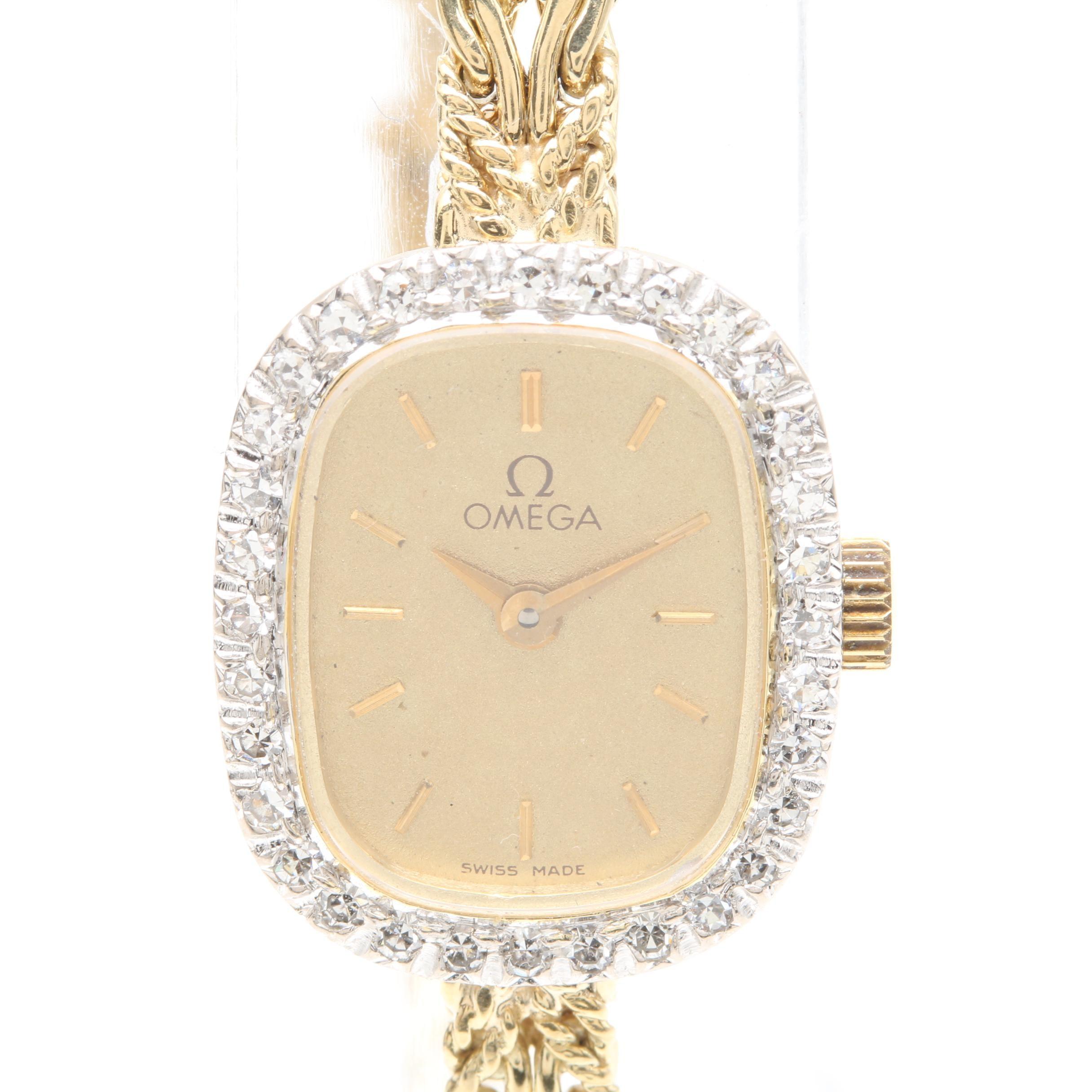 Omega 14K Yellow Gold Diamond Wristwatch