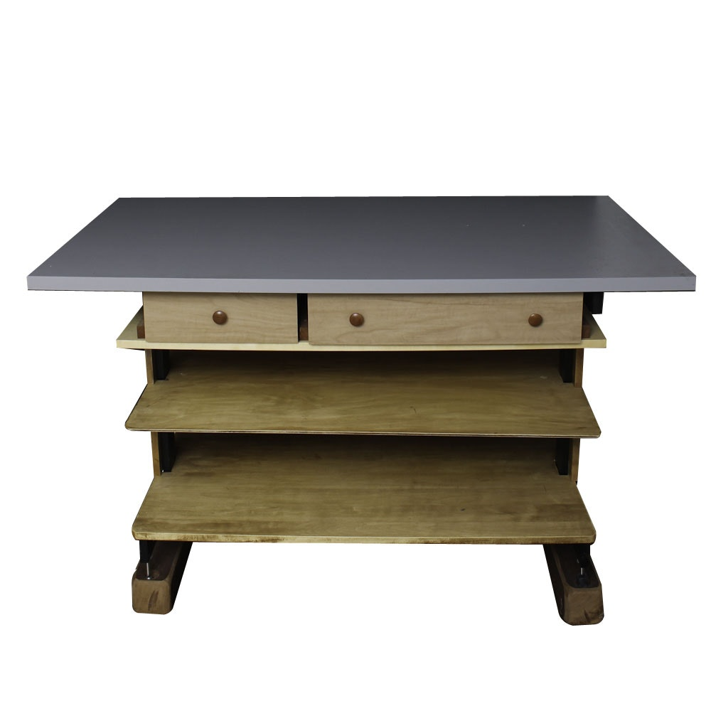 Modern Tiered Laminate Top Drafting Table with Shelving