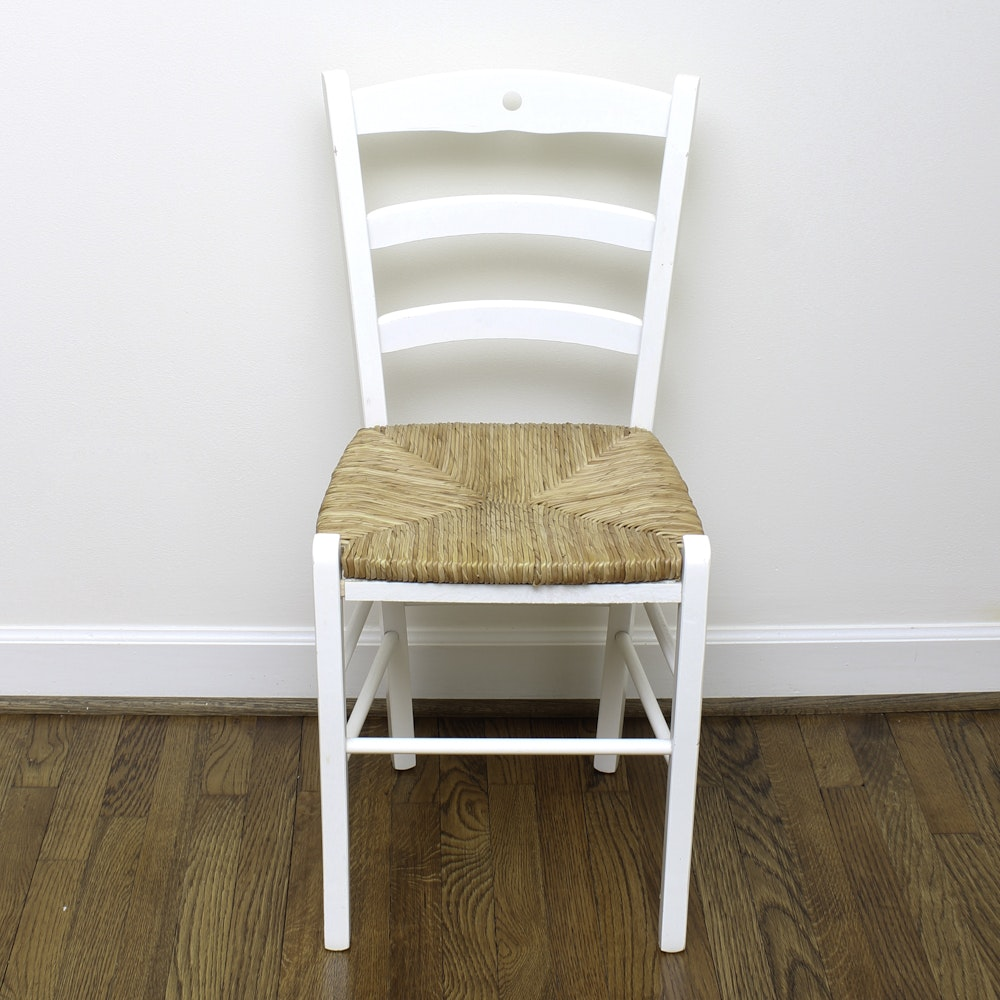 White Painted Side Chair with Wicker Seat