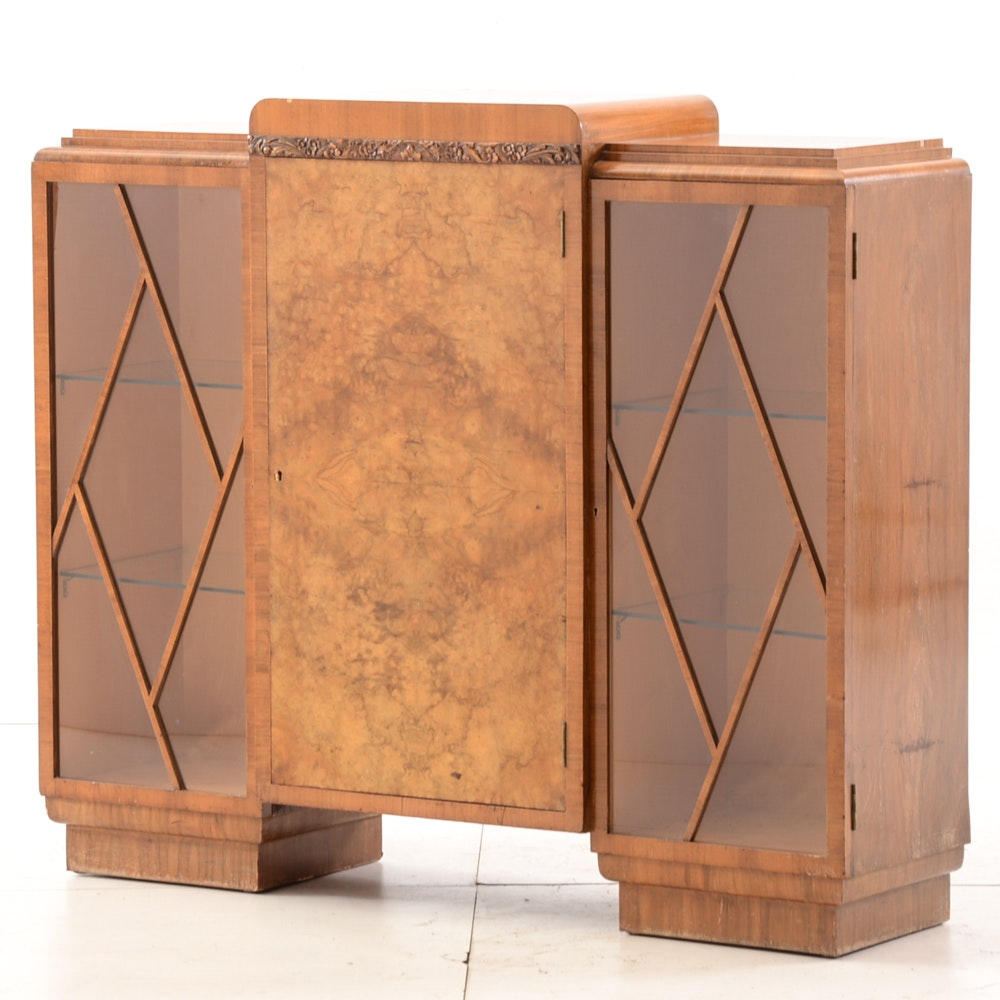 English Burled Walnut Art Deco Cabinet
