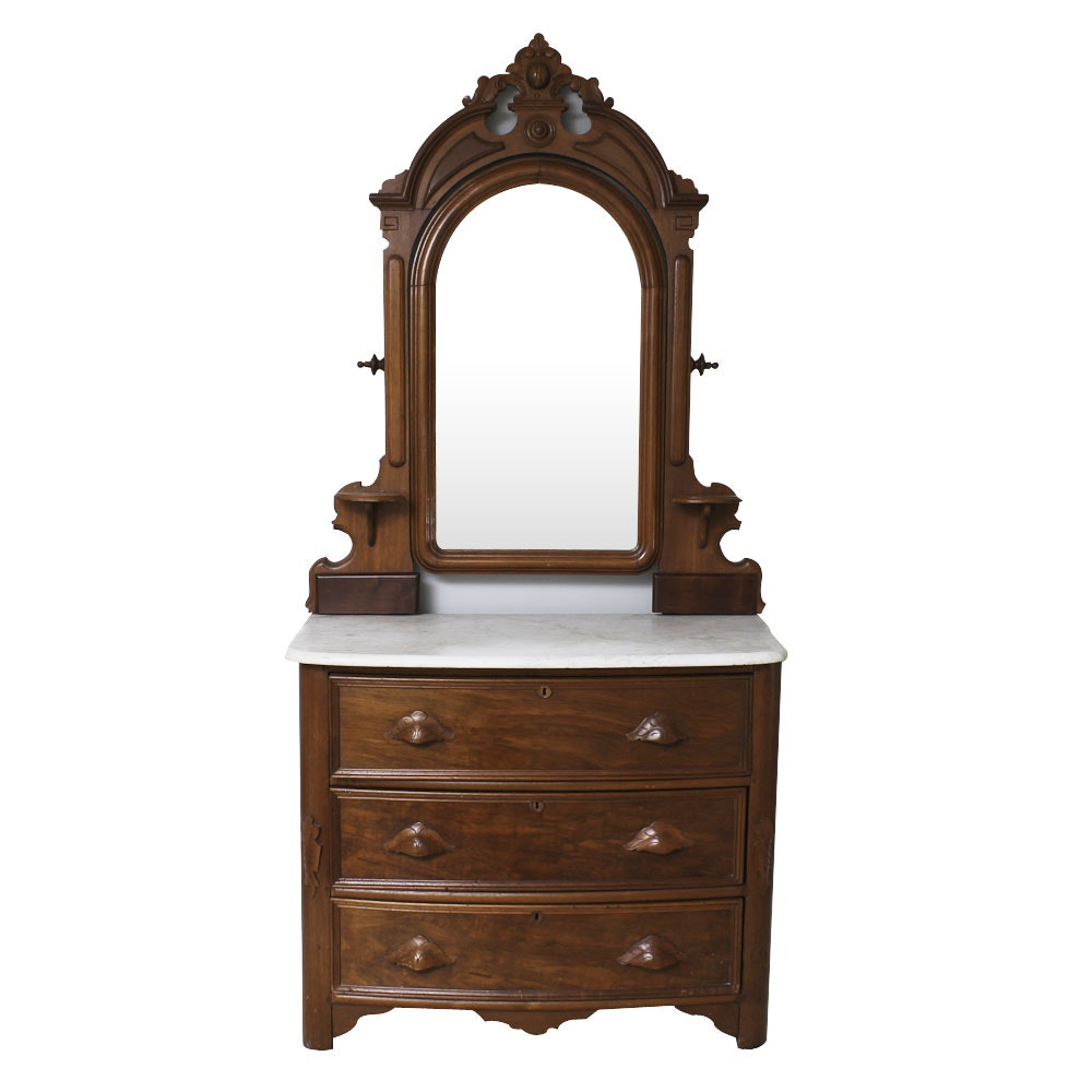 Antique Victorian Marble Top Chest of Drawers with Mirror
