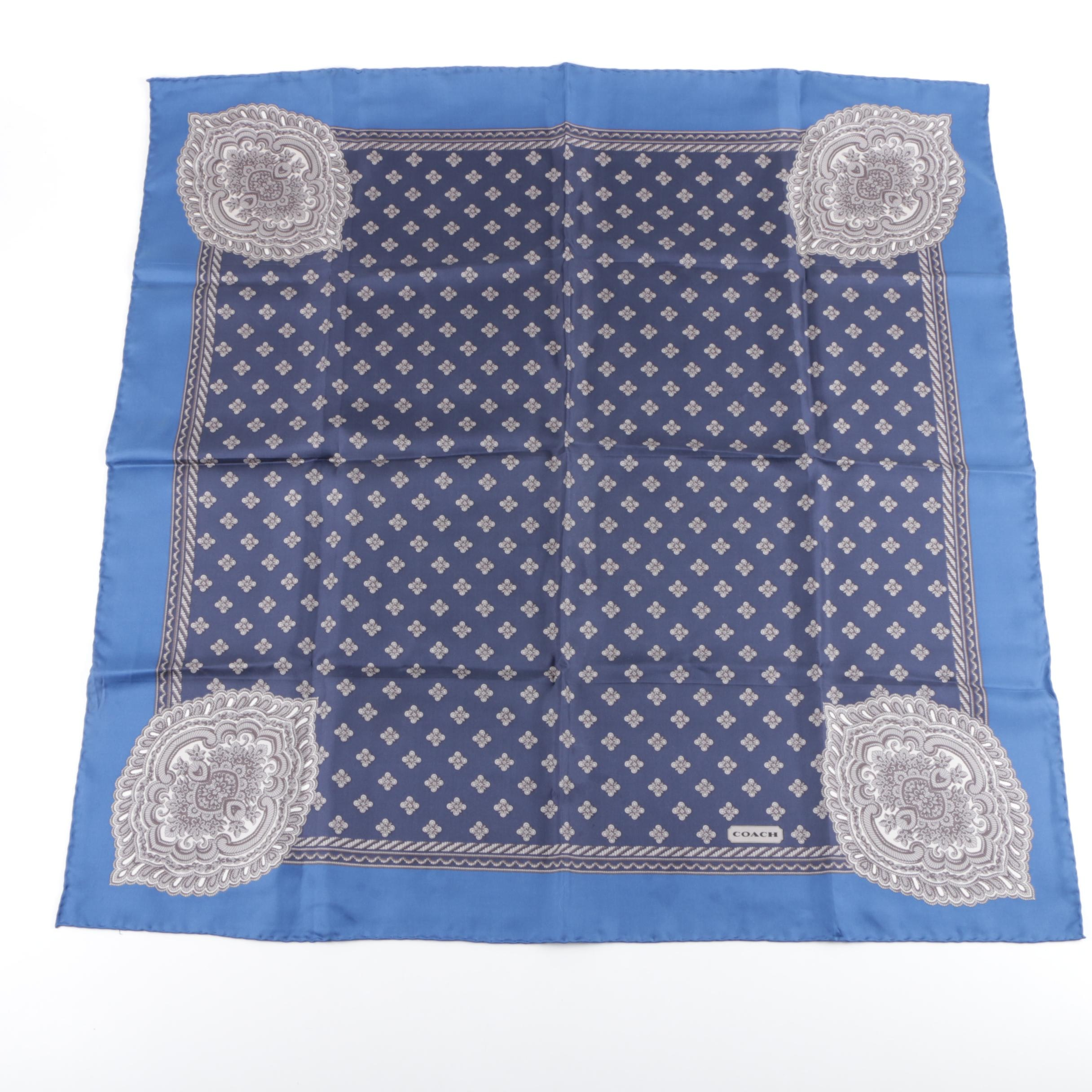 Coach Blue and Grey Foliate Print Silk Scarf with Hand-Rolled and Stitched Hem