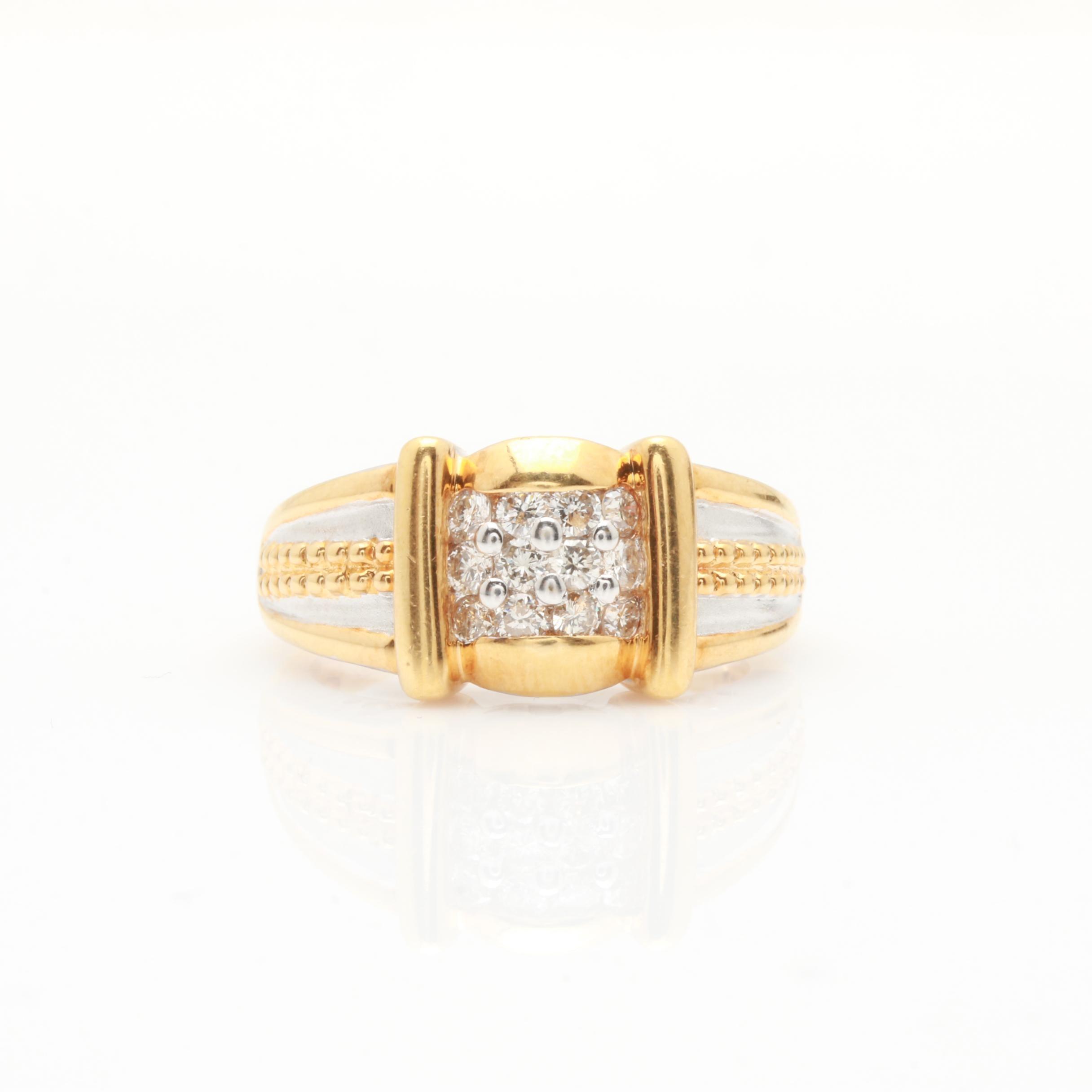 18K Two Tone Diamond Ring