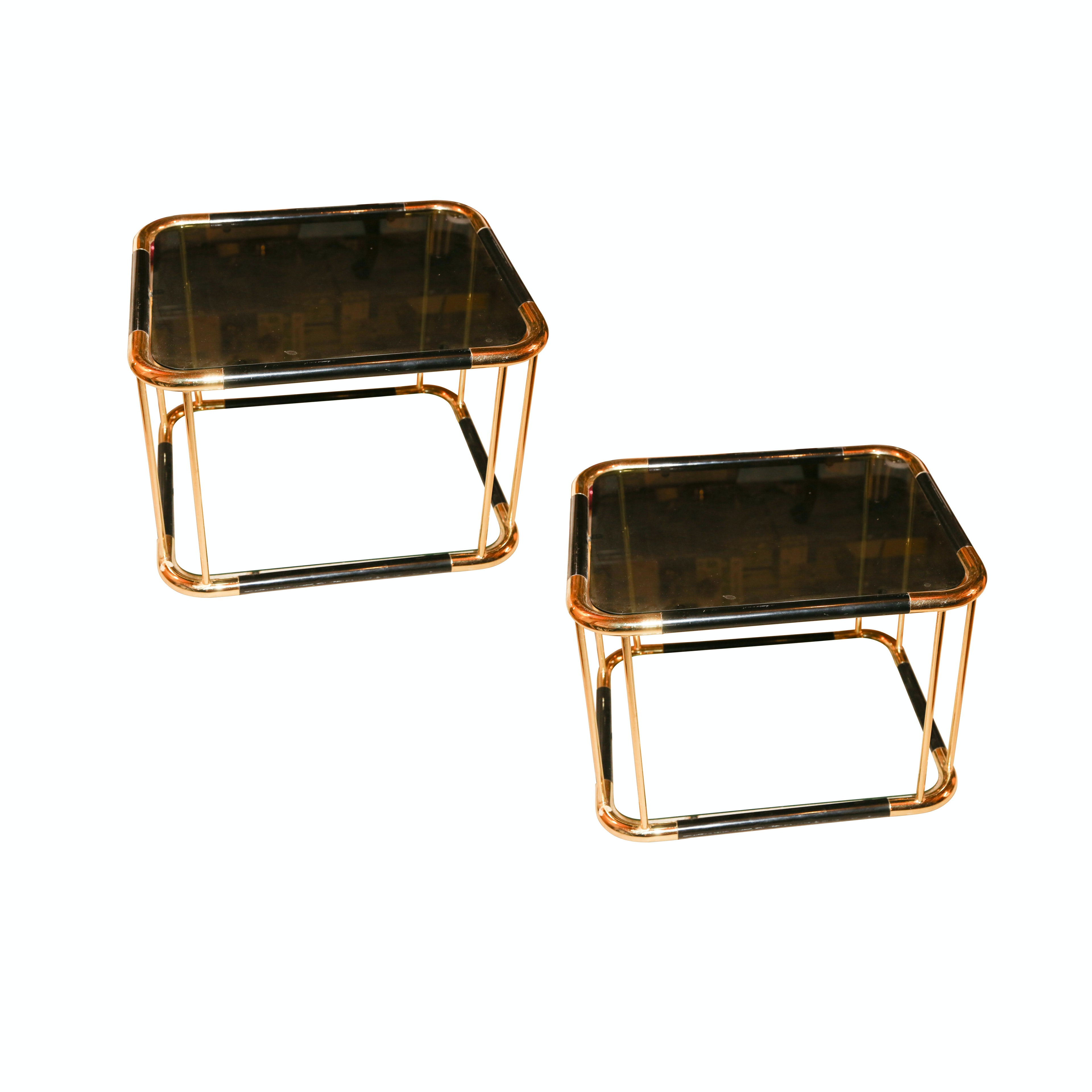 Two Vintage Glass Top Side Tables