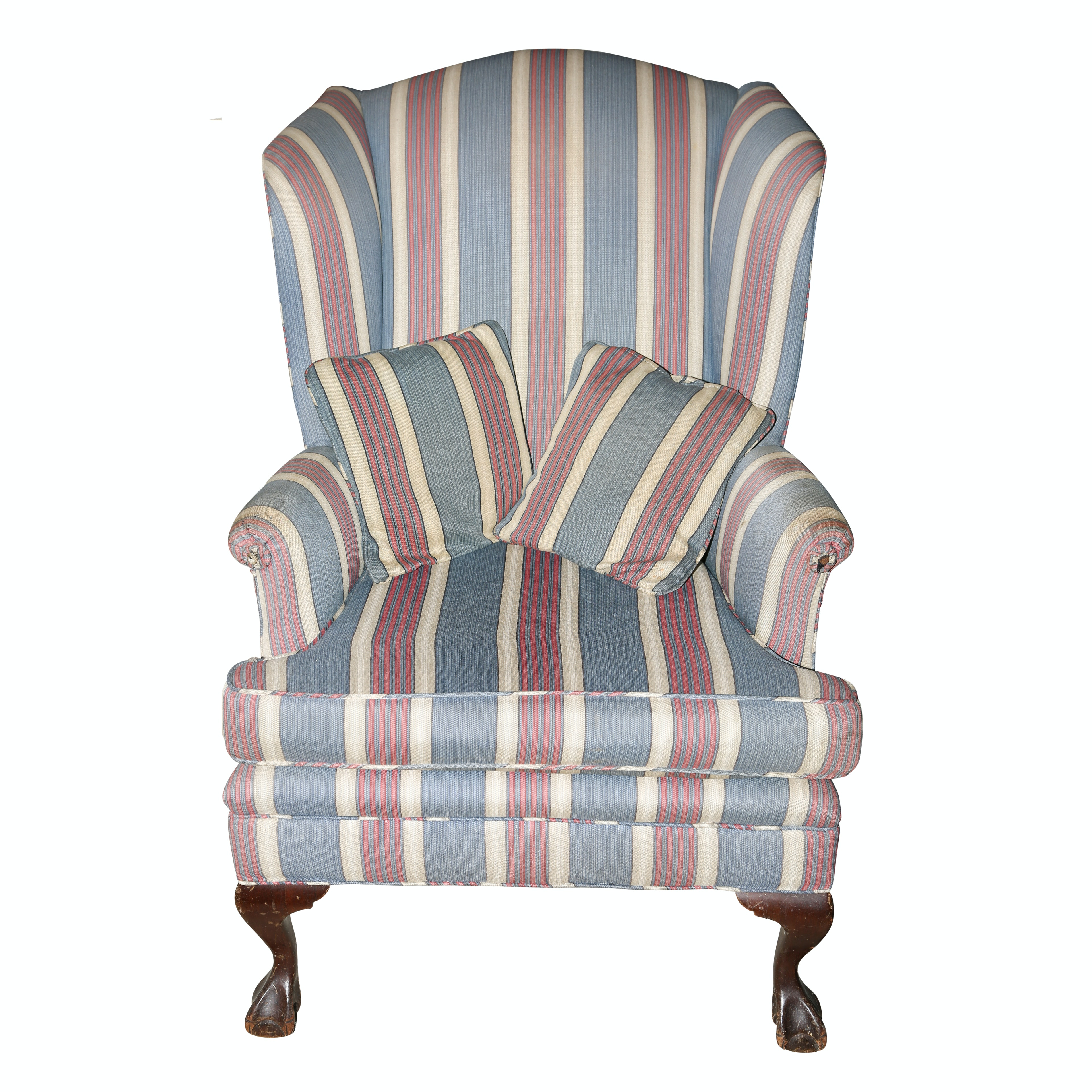 Vintage Chippendale Style Upholstered Armchair