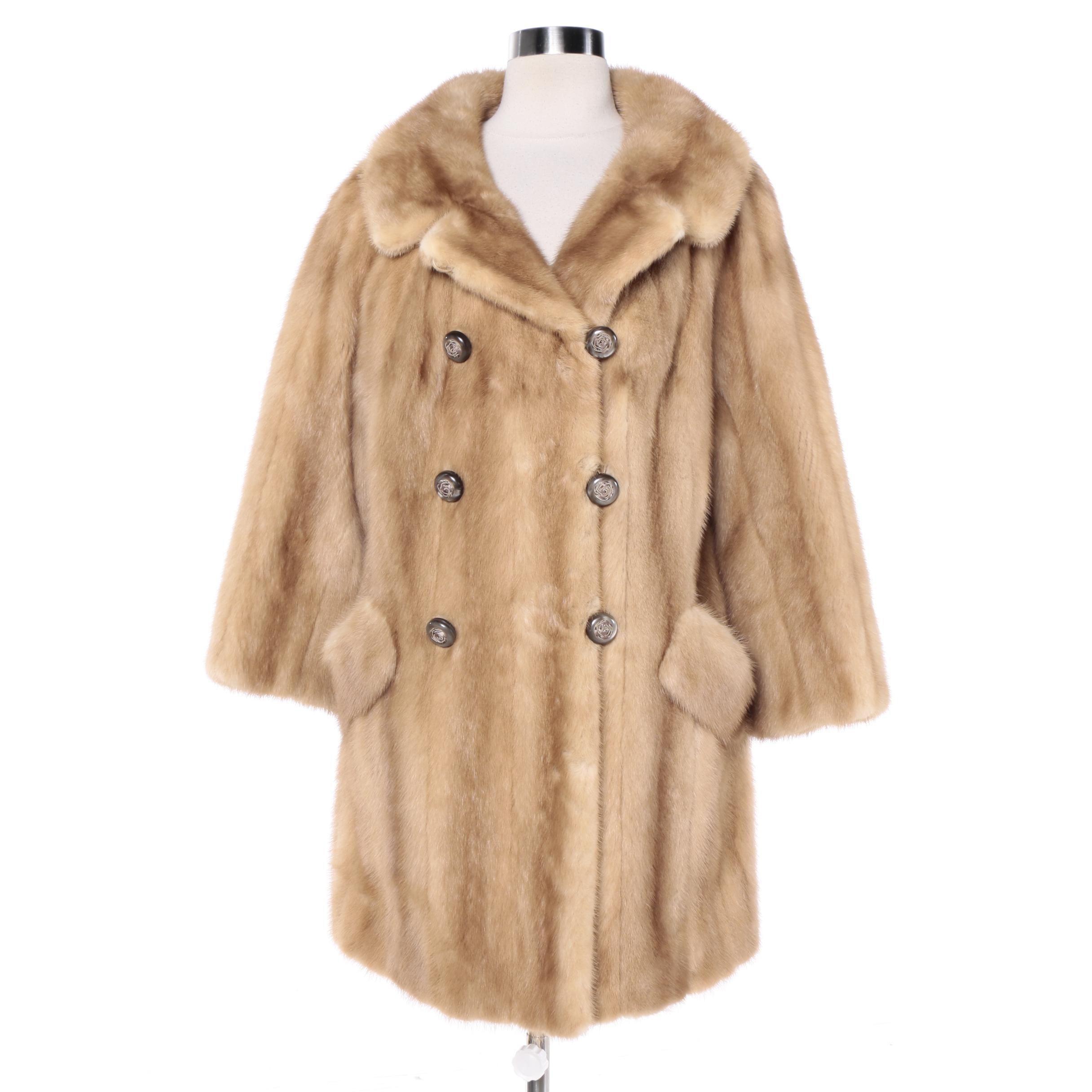 Vintage Double-Breasted Light Brown Mink Fur Coat