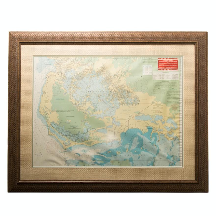 Framed Map Of Florida Keys Ebth