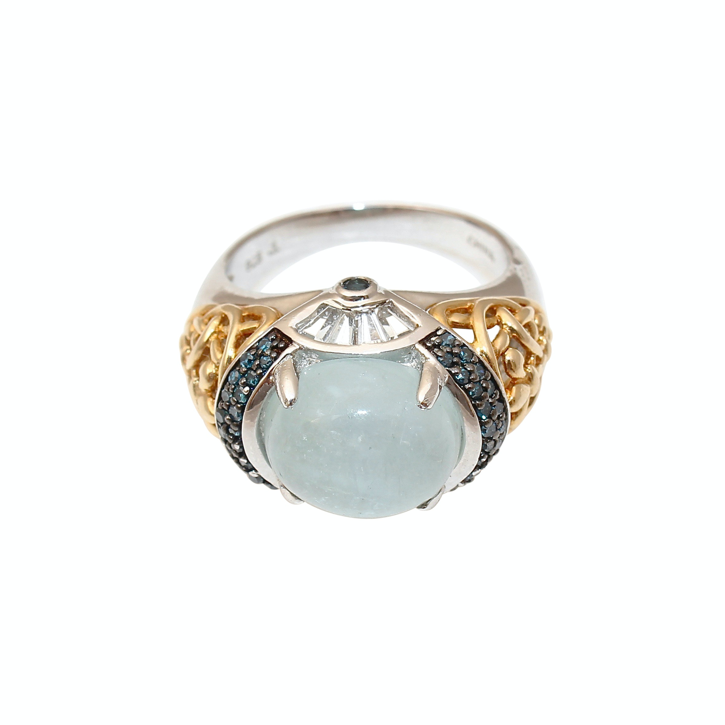 Sterling Silver Diamond, Aquamarine, Sapphire and Topaz Ring