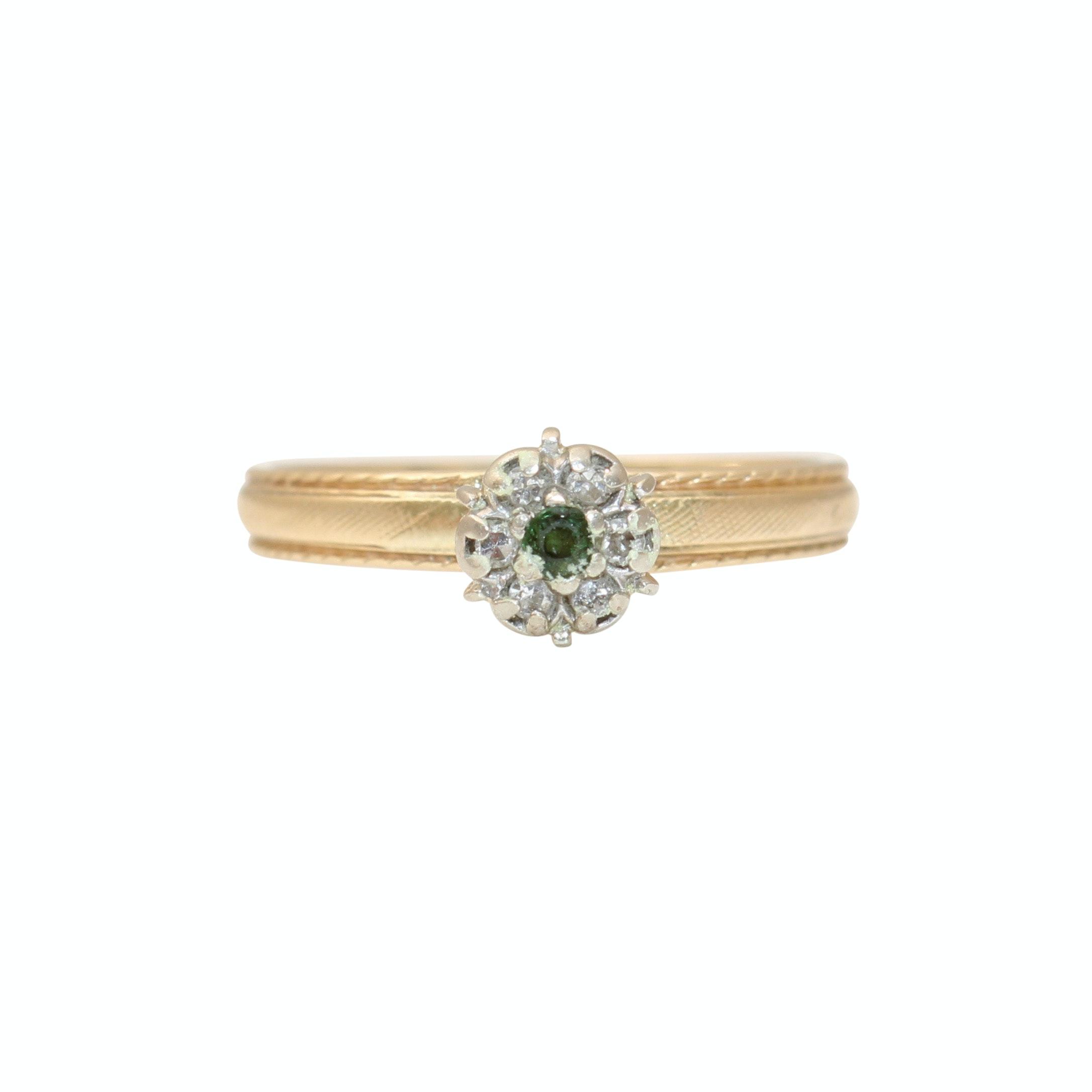 14K Yellow Gold Tourmaline And Diamond Ring
