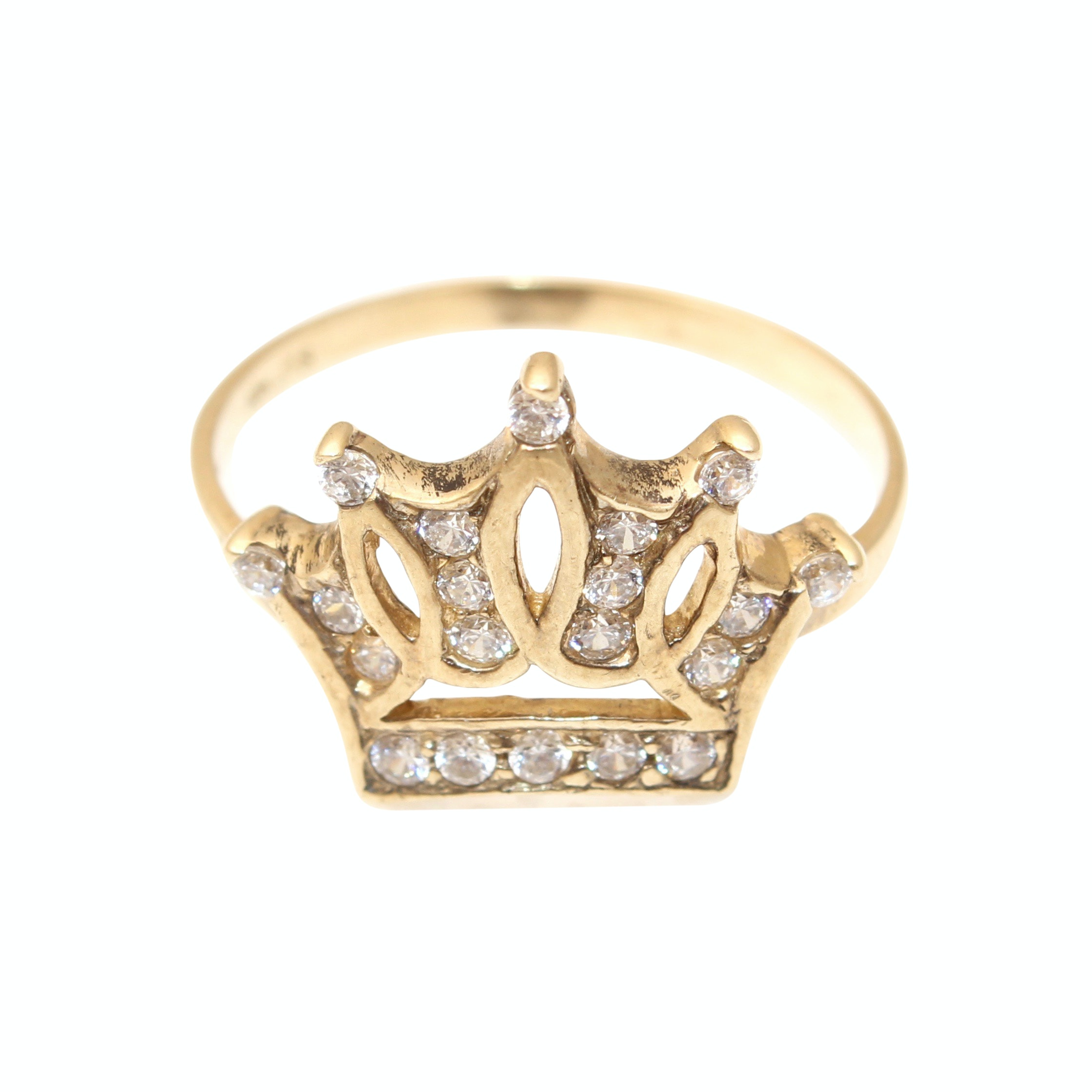 10K Yellow Gold Cubic Zirconia Crown Ring