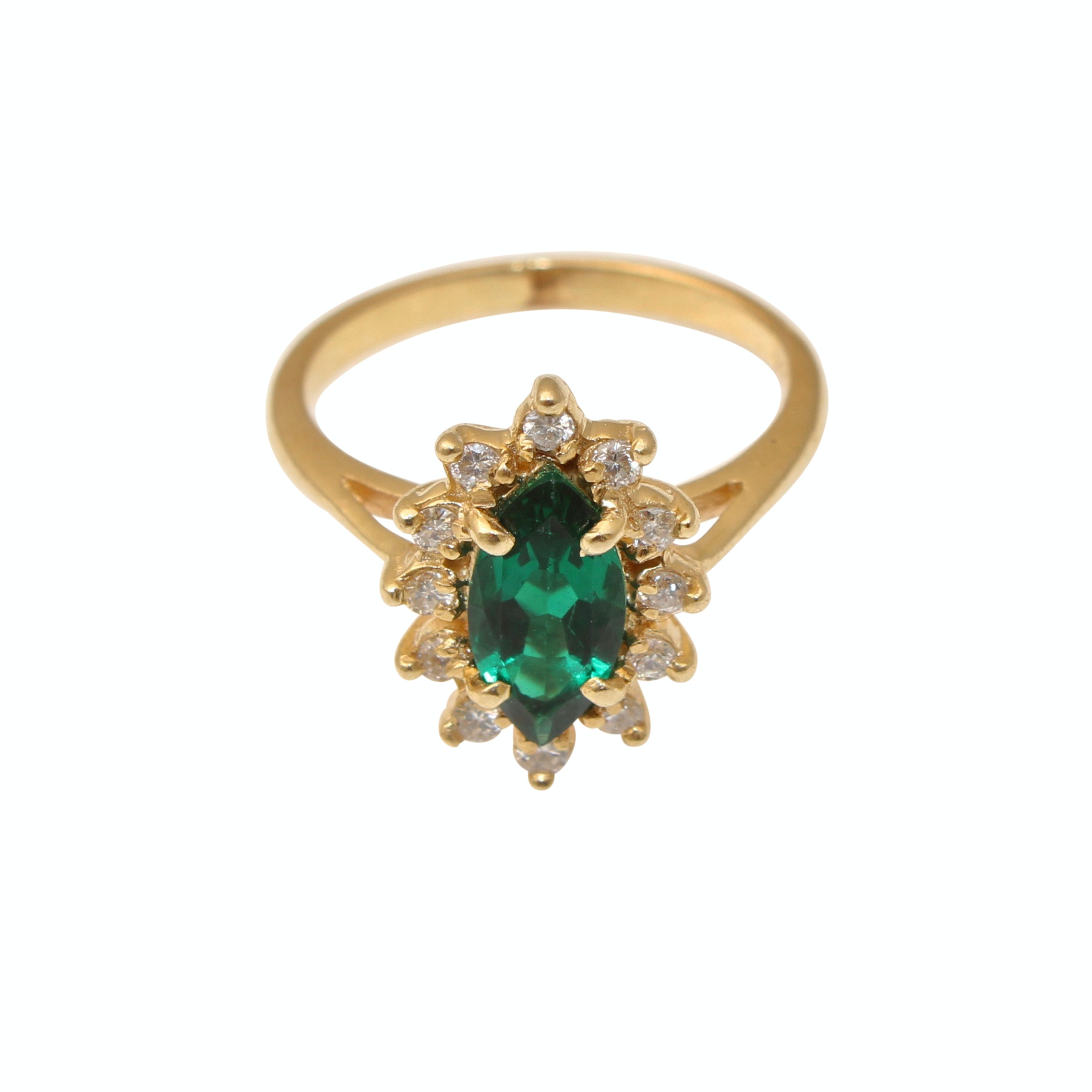 14K Yellow Gold Diamond and Spinel Ring