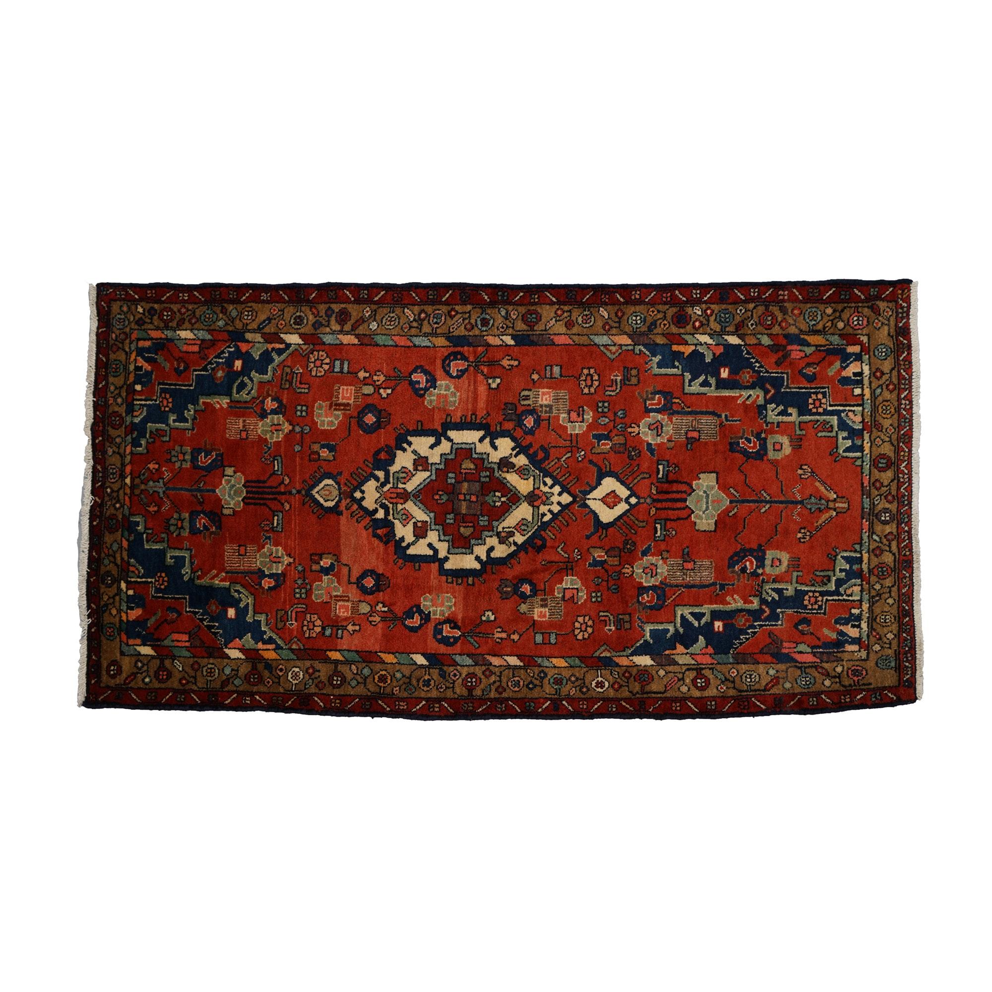 Hand-Knotted Persian Hamadan Area Rug