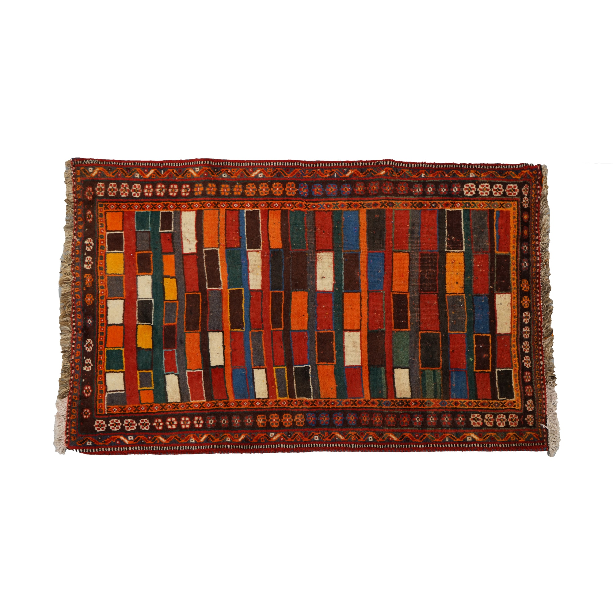 Hand-Knotted Persian Village Geometric Accent Rug