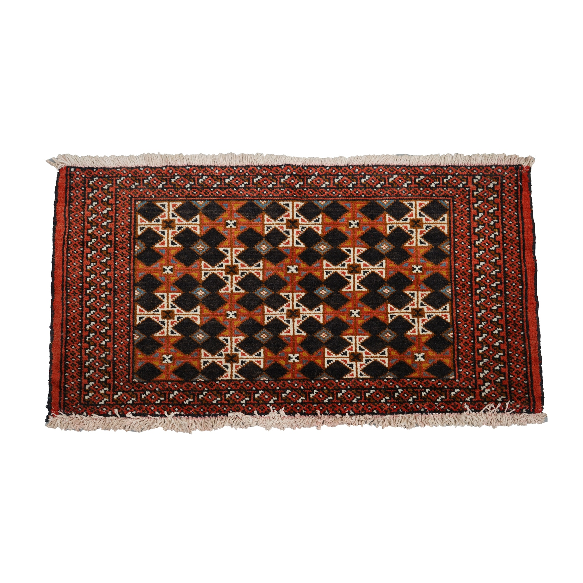 Hand-Knotted Turkmen-Inspired Wool Accent Rug