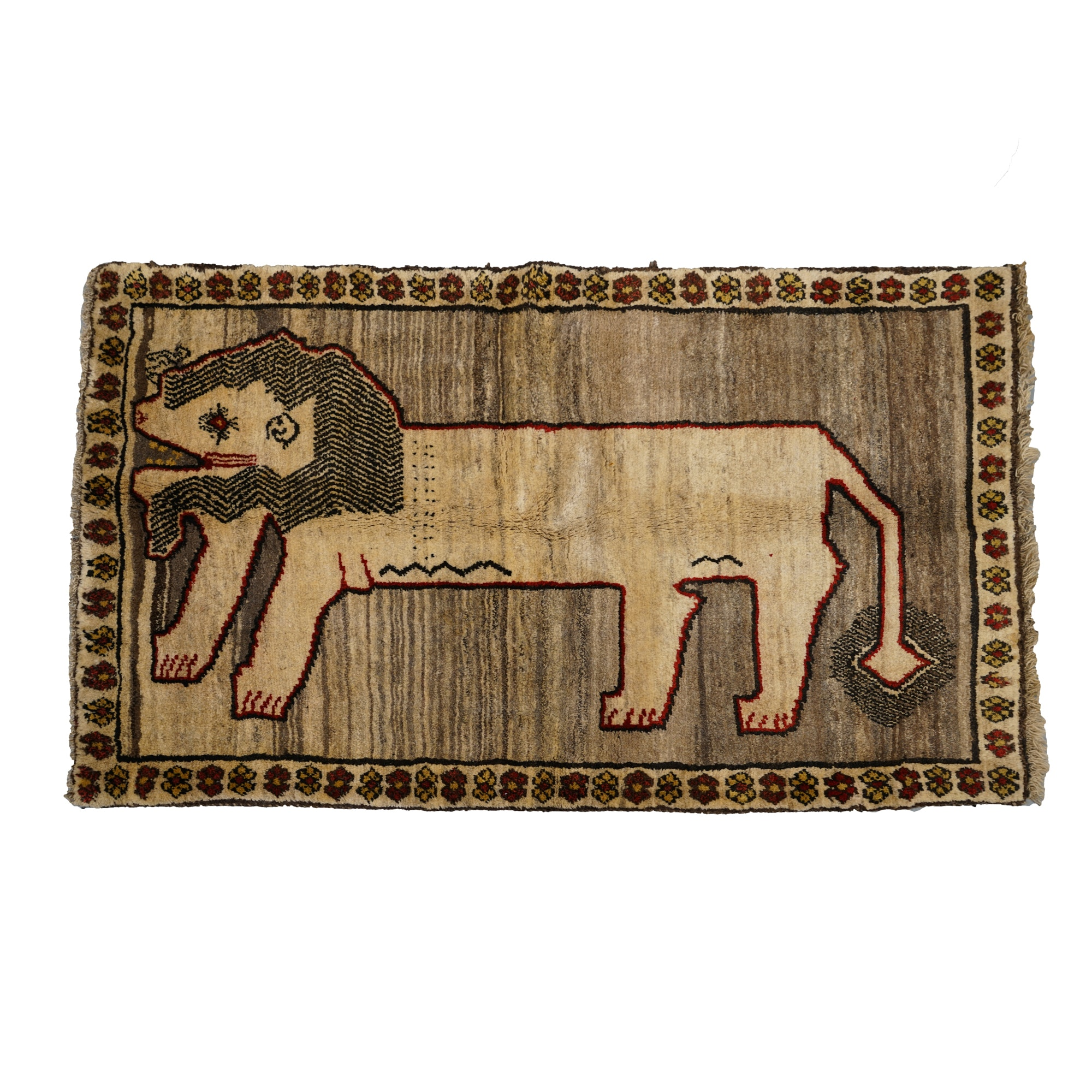 Hand-Knotted Gabbeh Figural Wool Area Rug