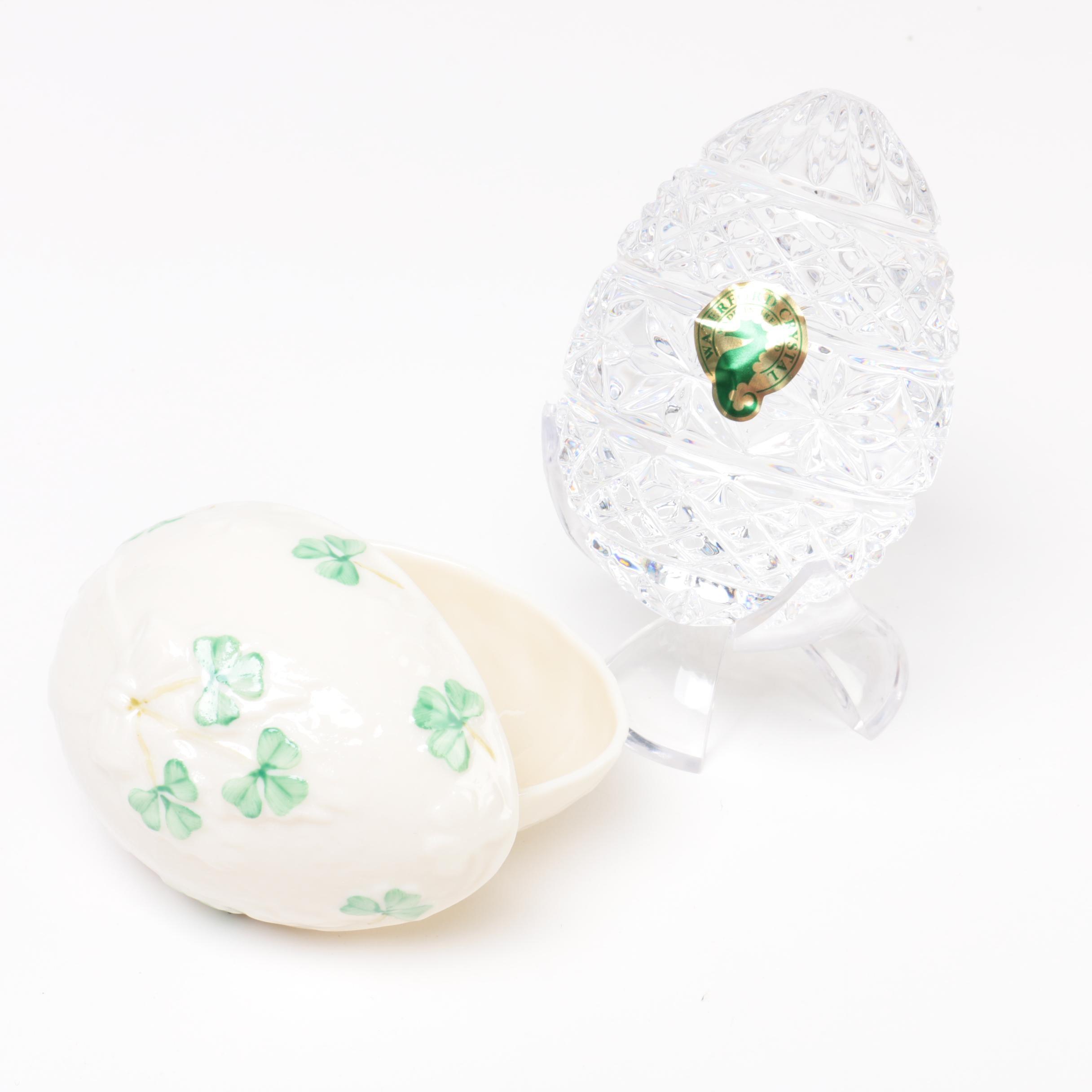 Waterford Crystal Egg with Belleek Porcelain Trinket Box