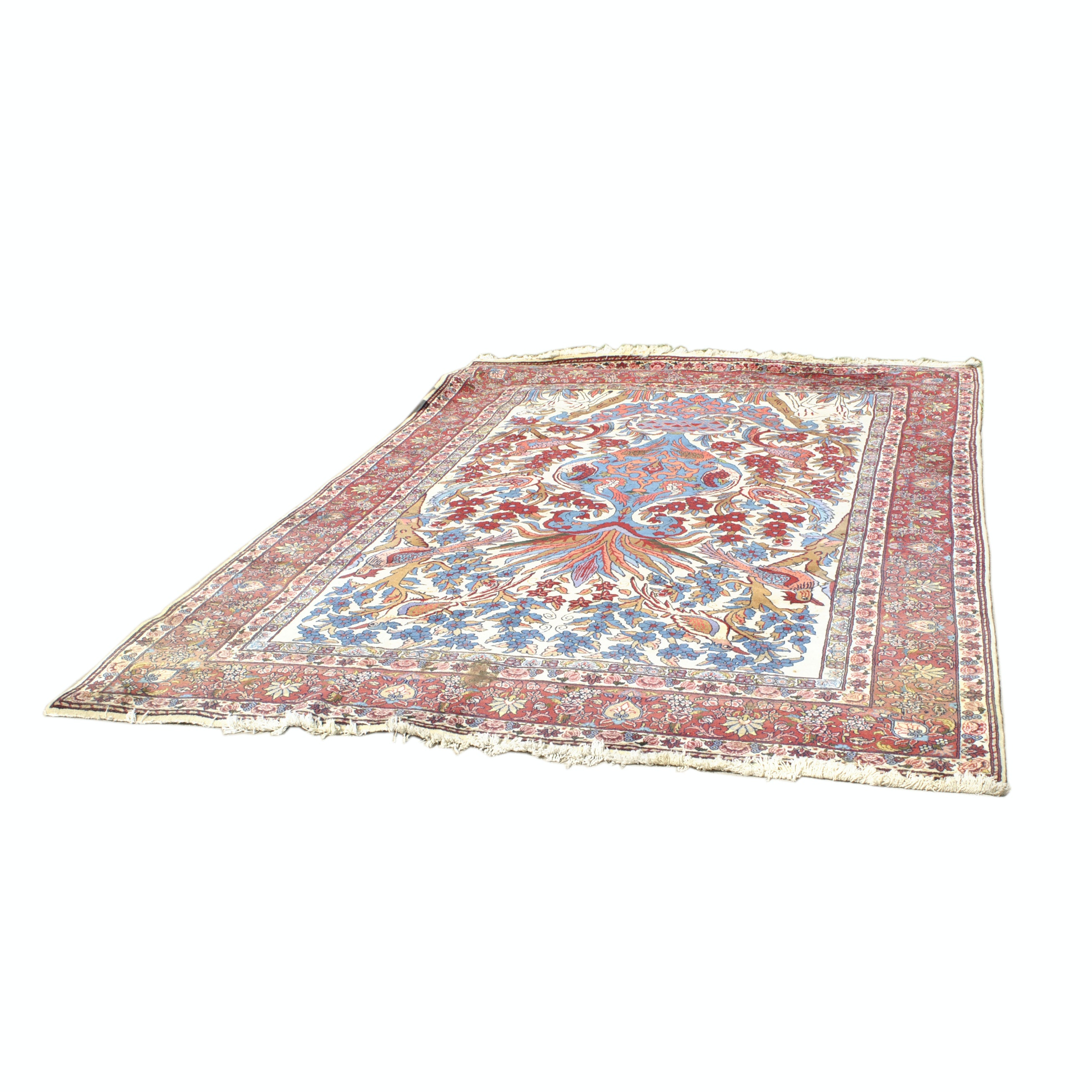 """Hand-Knotted Sino-Persian Tabriz """"Vase"""" Wool Rug"""