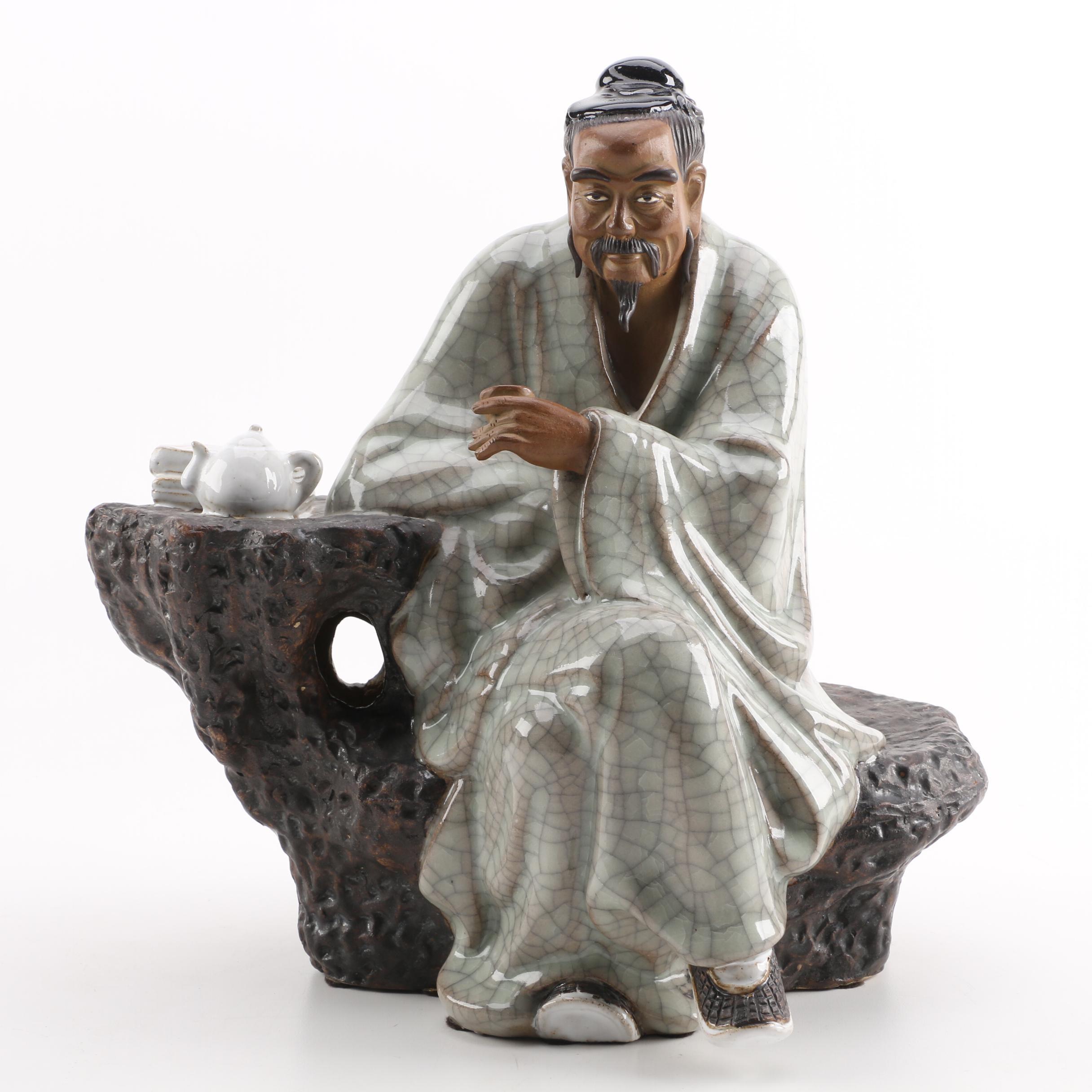Chinese Seated Ceramic Figurine