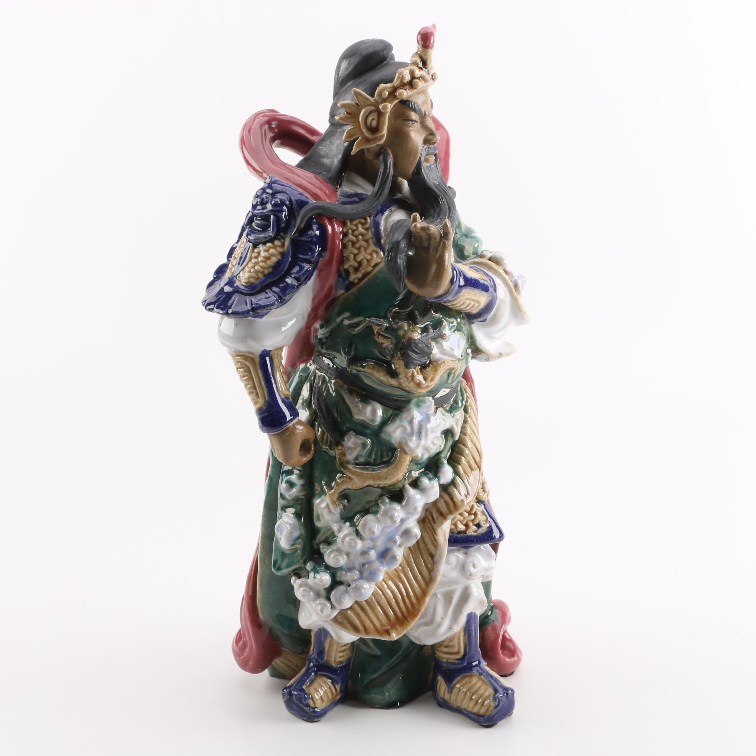 Large Chinese Warrior Ceramic Figurine