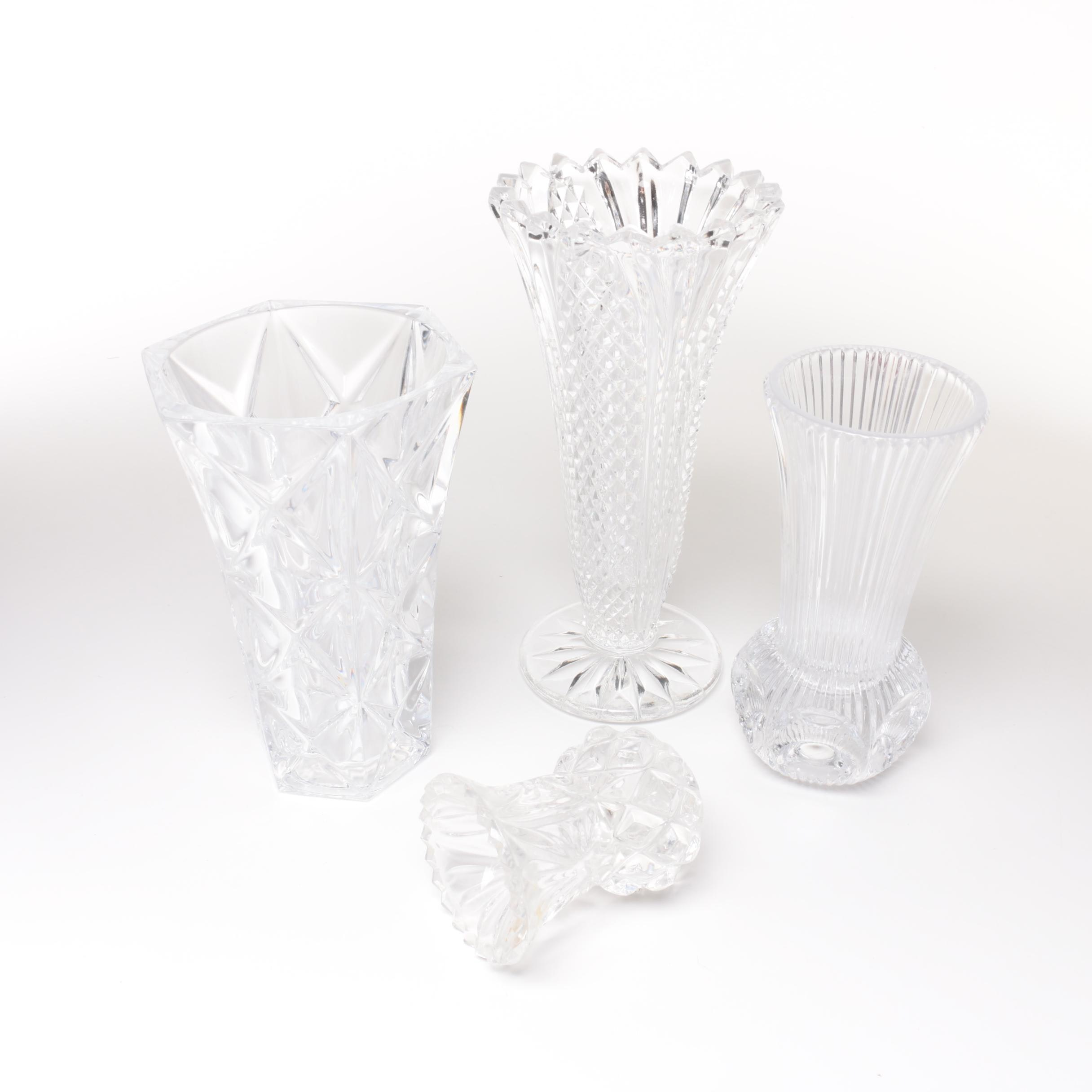 Group of Pressed Glass and Lead Crystal Vases