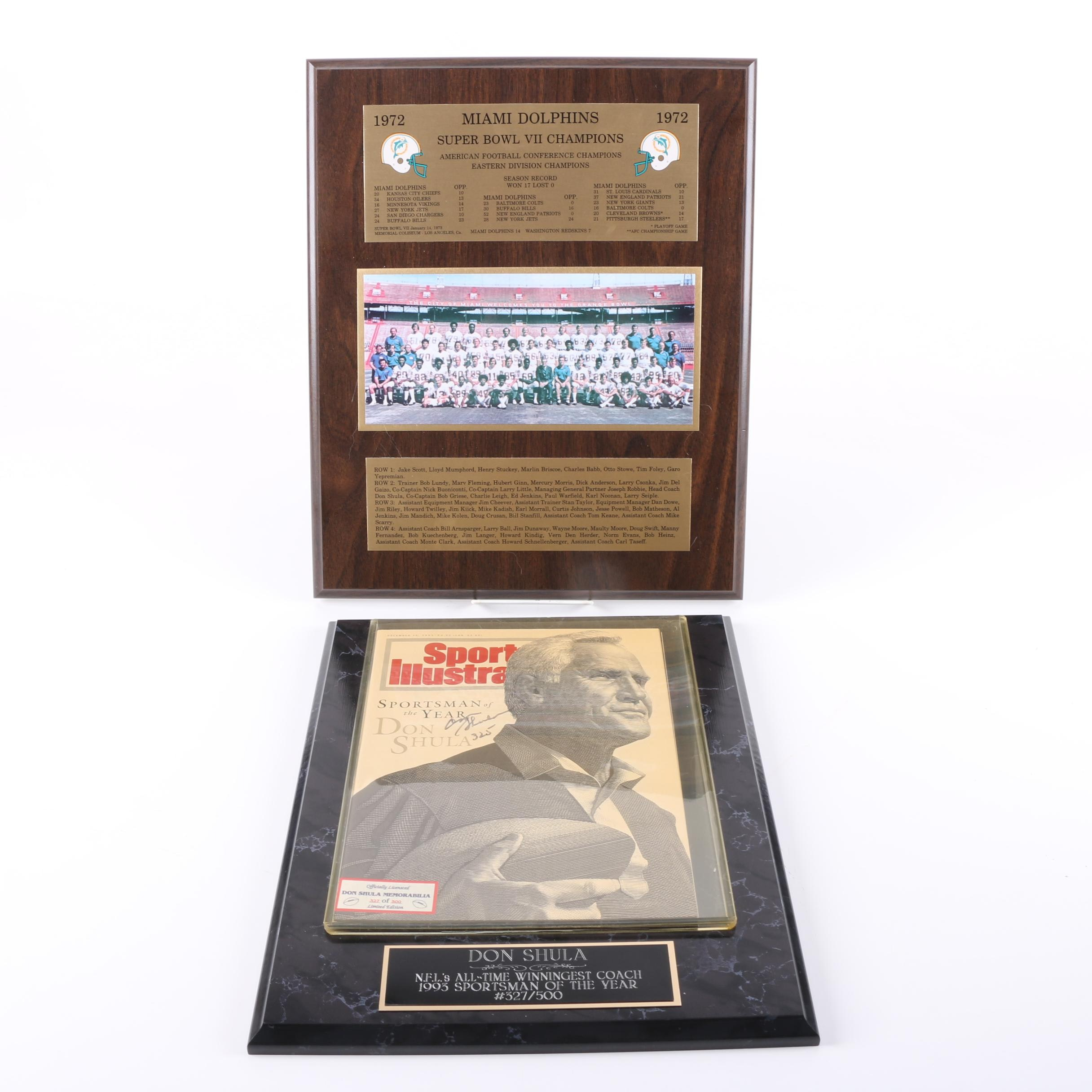 Don Shula Autographed Magazine and 1972 Dolphins Plaque