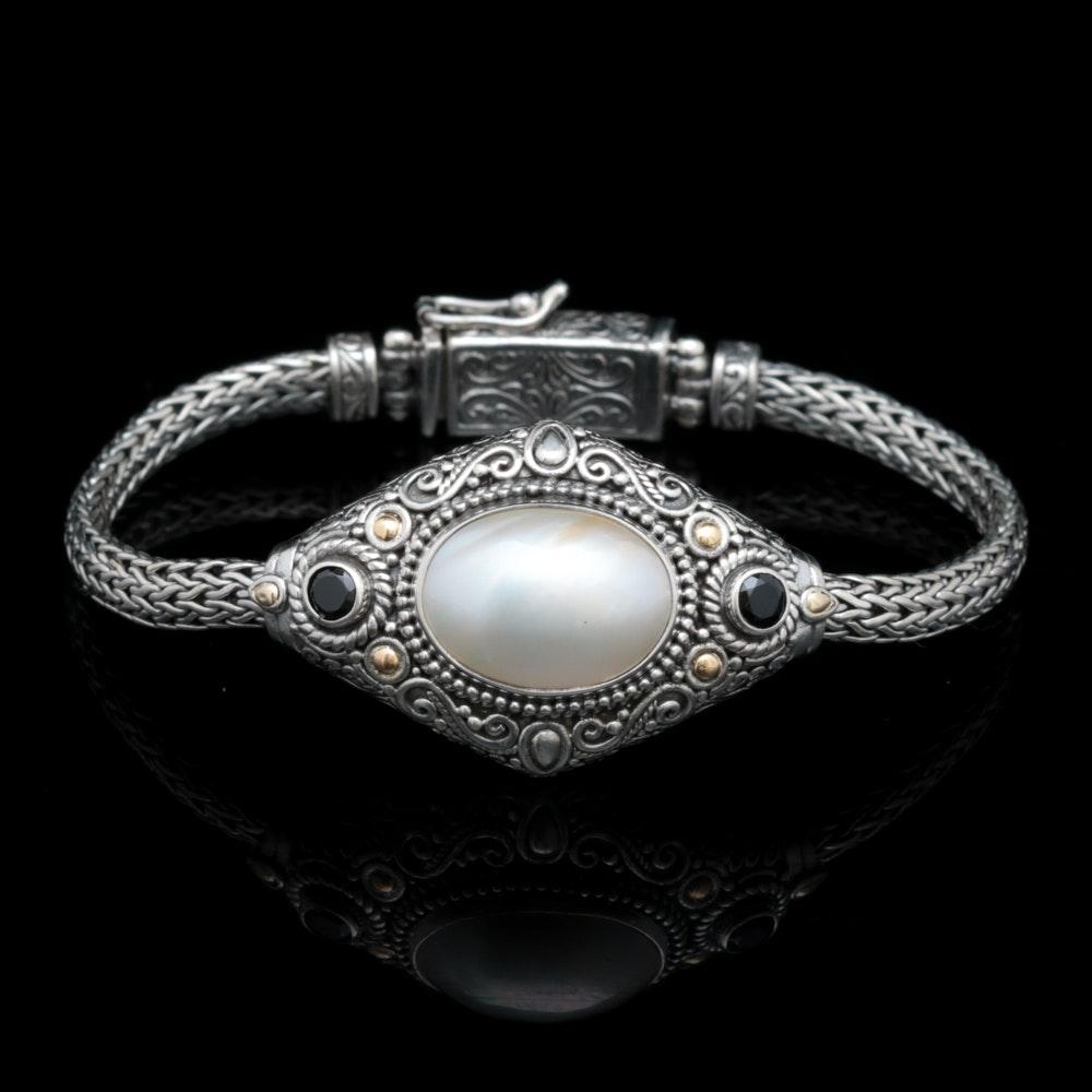 Robert Manse Sterling Silver, 18K Gold, Mabé Pearl and Black Spinel Bracelet