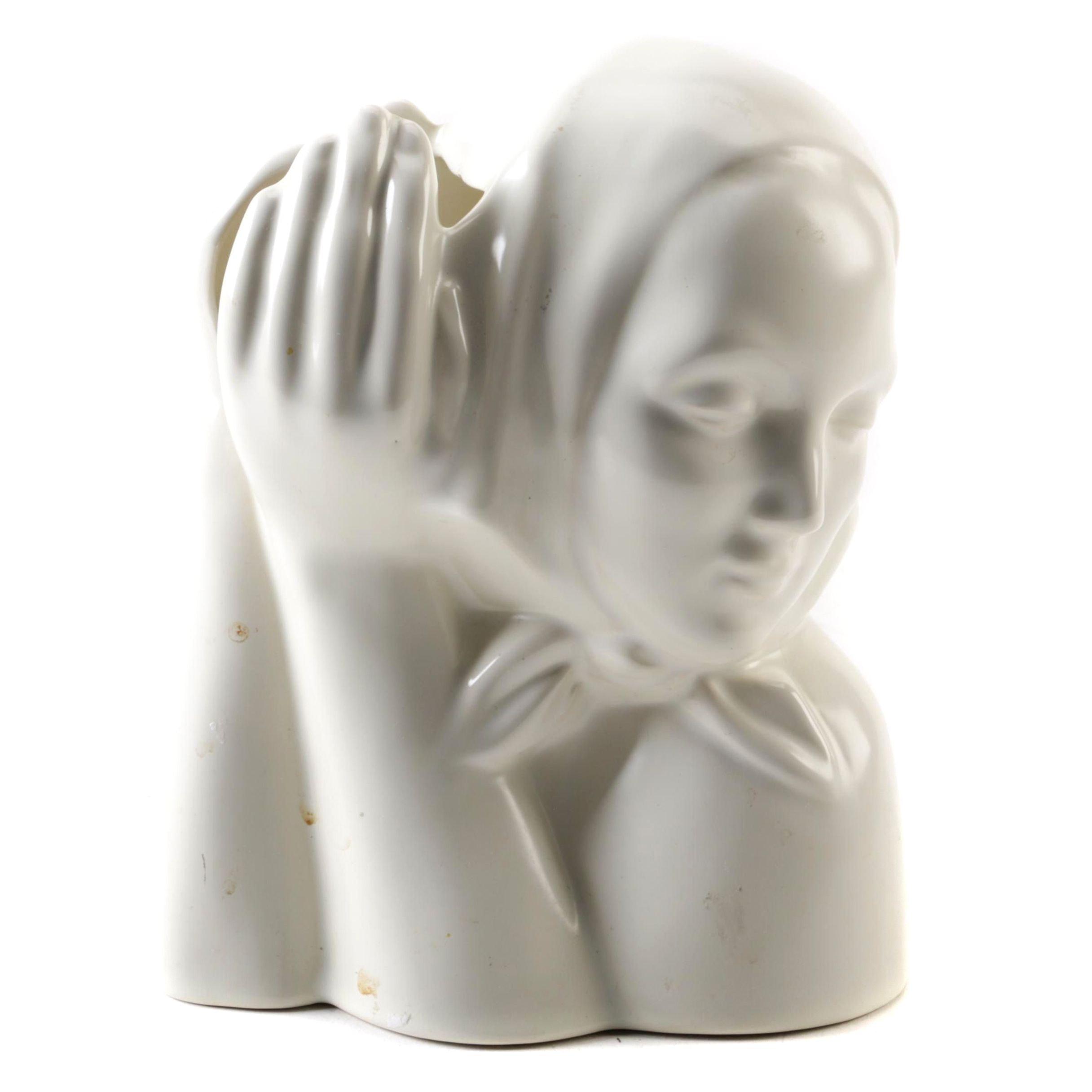Catalina Pottery White Ceramic Figural Planter Circa 1940s