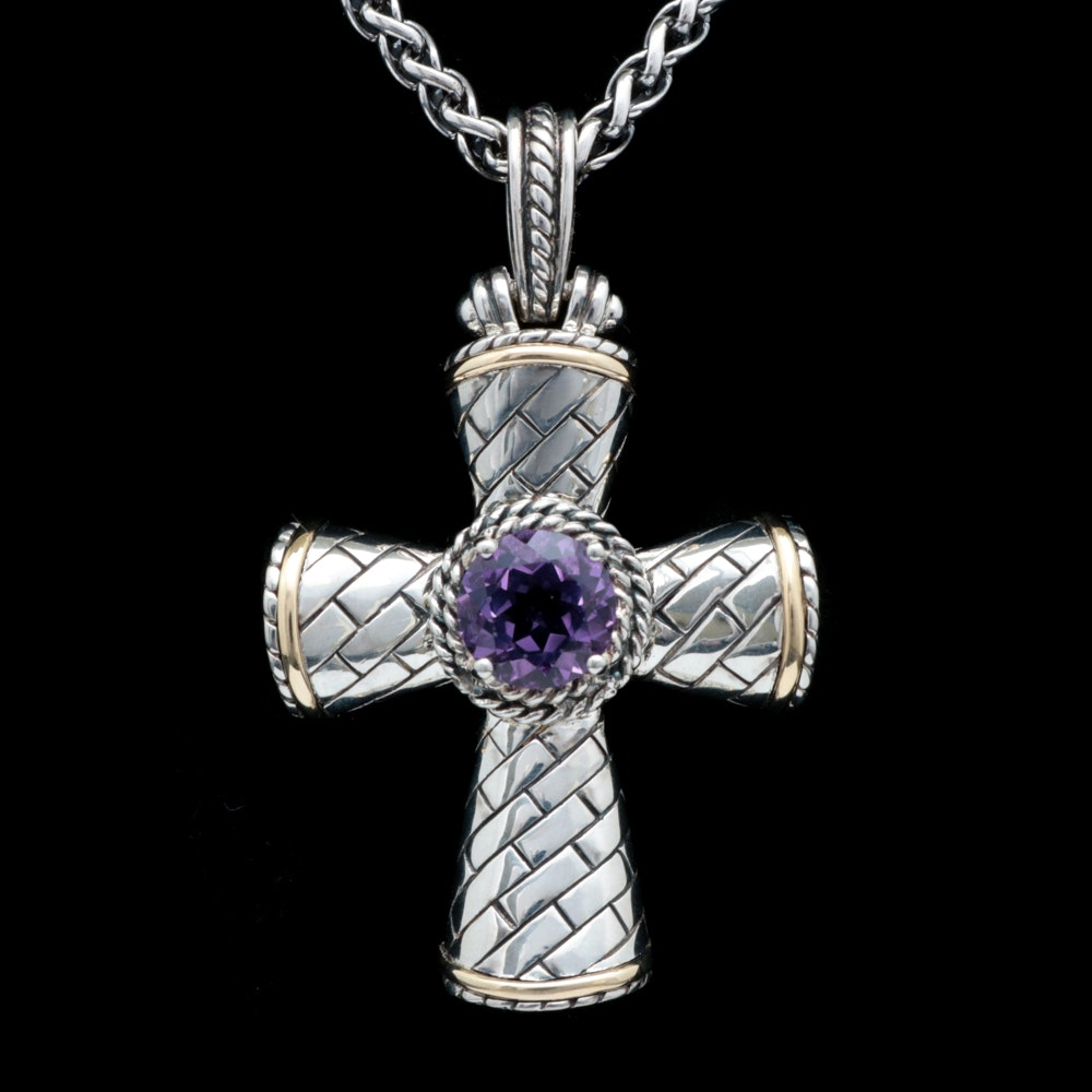 Sterling Silver, 14K Yellow Gold and Amethyst Cross Pendant Necklace