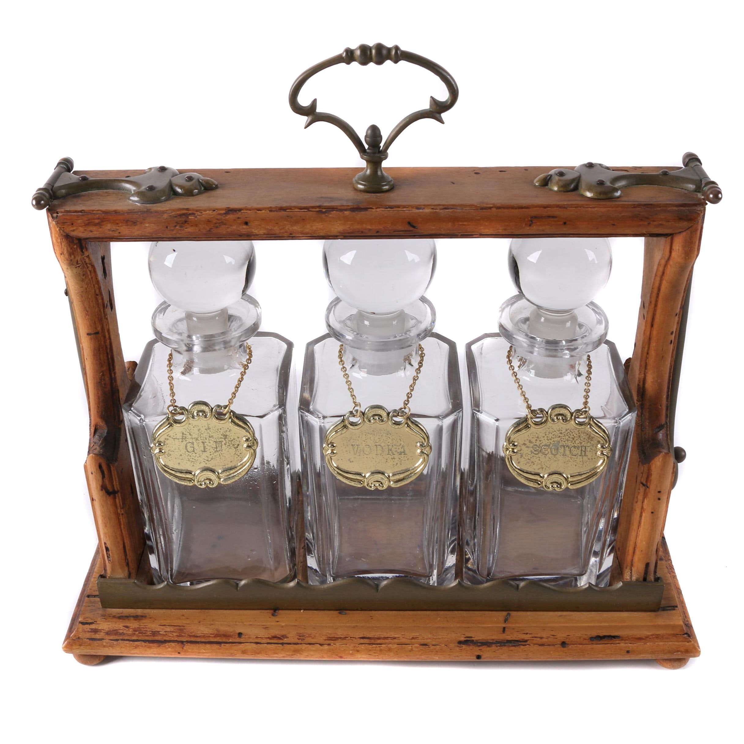 Vintage Wood Tantalus with Glass Decanters