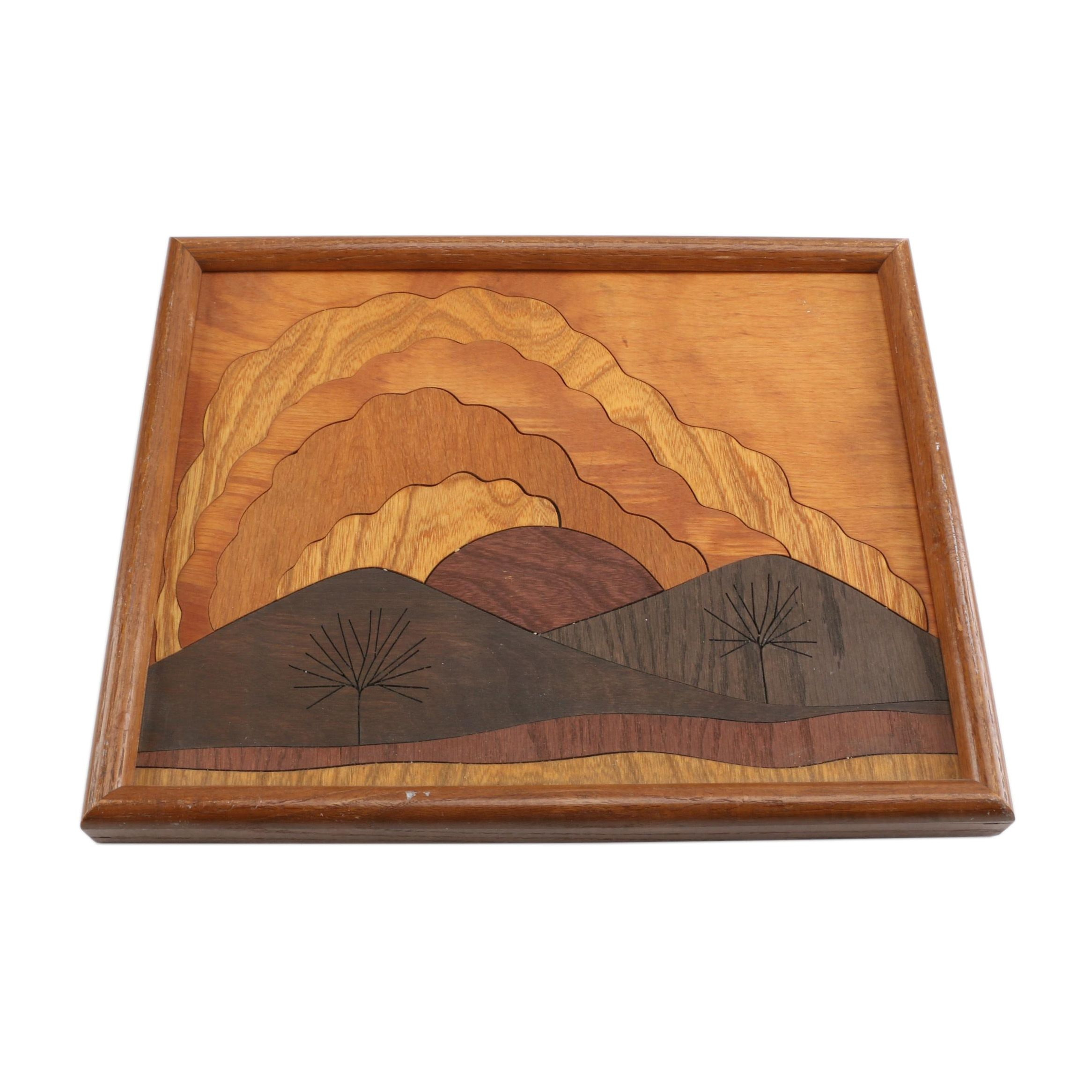 """1984 Wooden Marquetry Panel """"Clouds"""""""