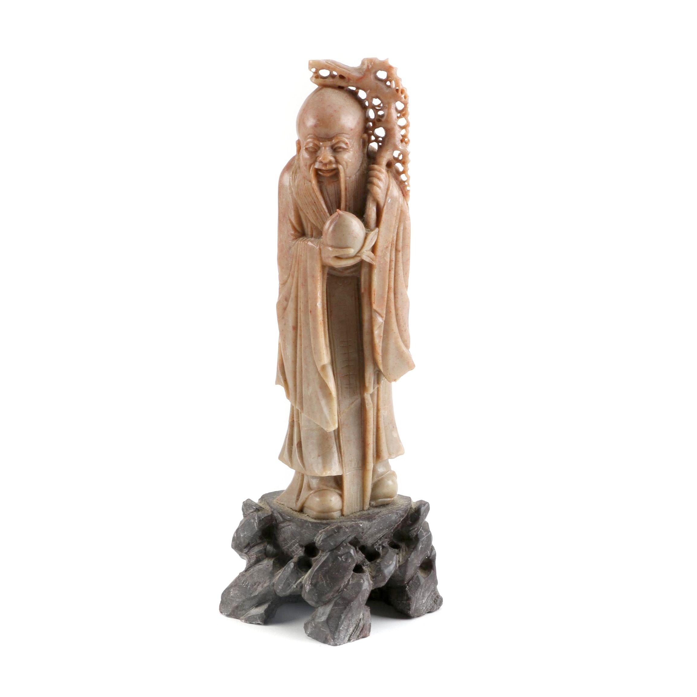 Chinese Carved Soapstone God of Longevity Figurine