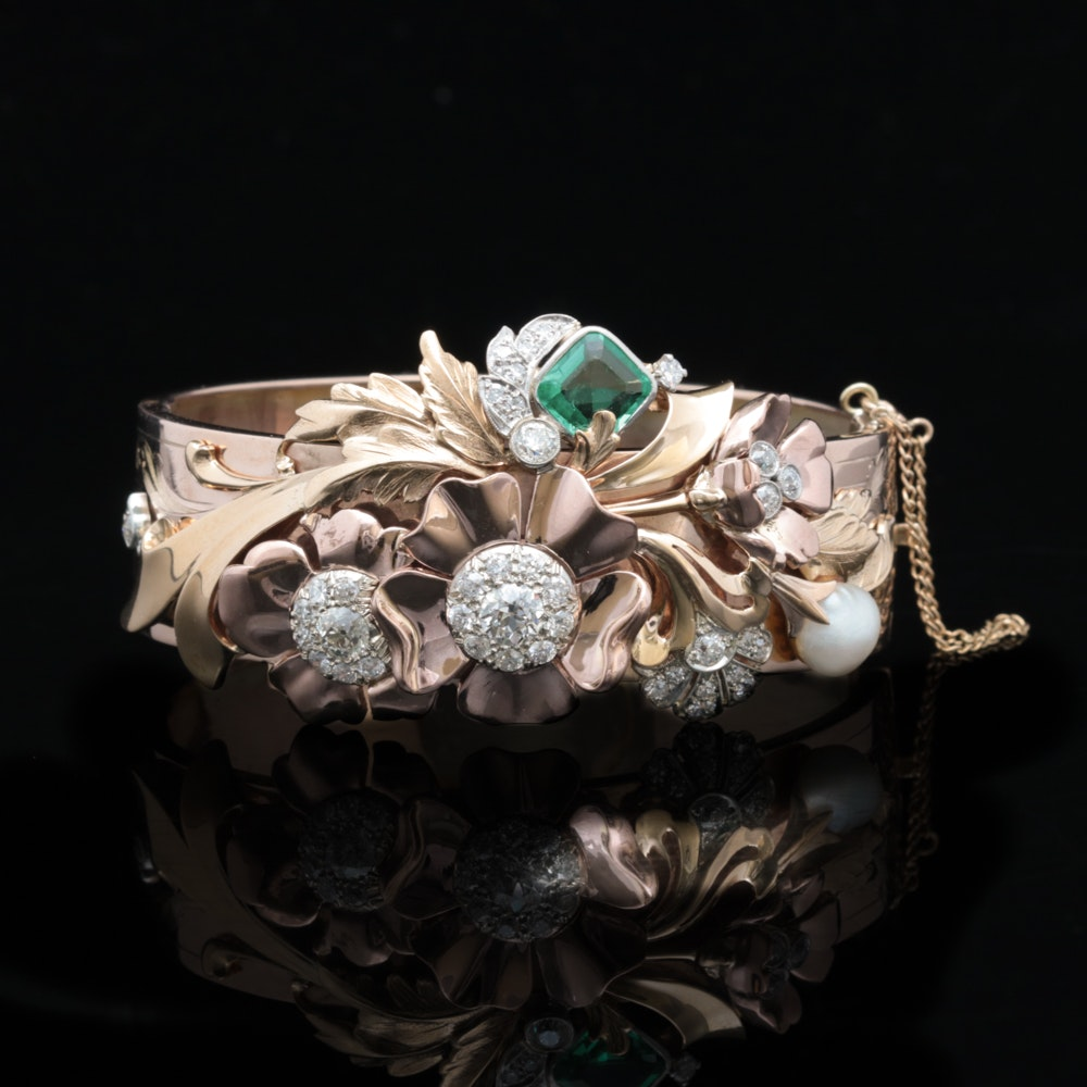 Antique 10K and 14K Gold, 1.10 CT Emerald, 2.25 CTW Diamond and Pearl Bracelet