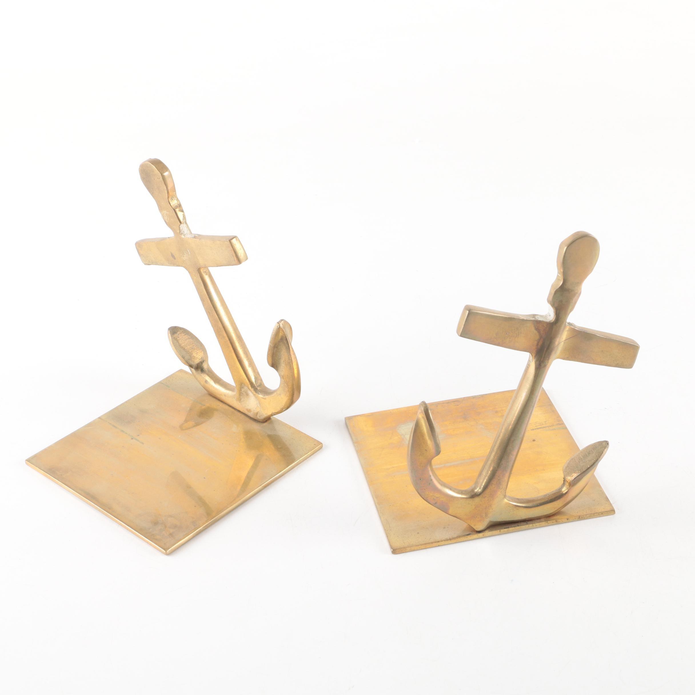 Brass Anchor Bookends