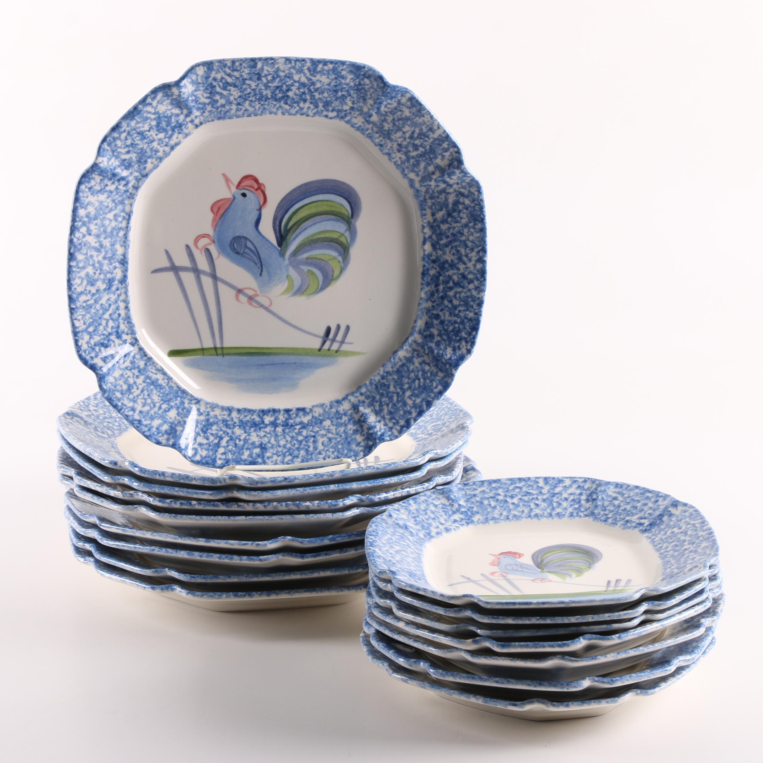 "Los Angeles Potteries ""Blue Stipple Rooster"" Tableware"