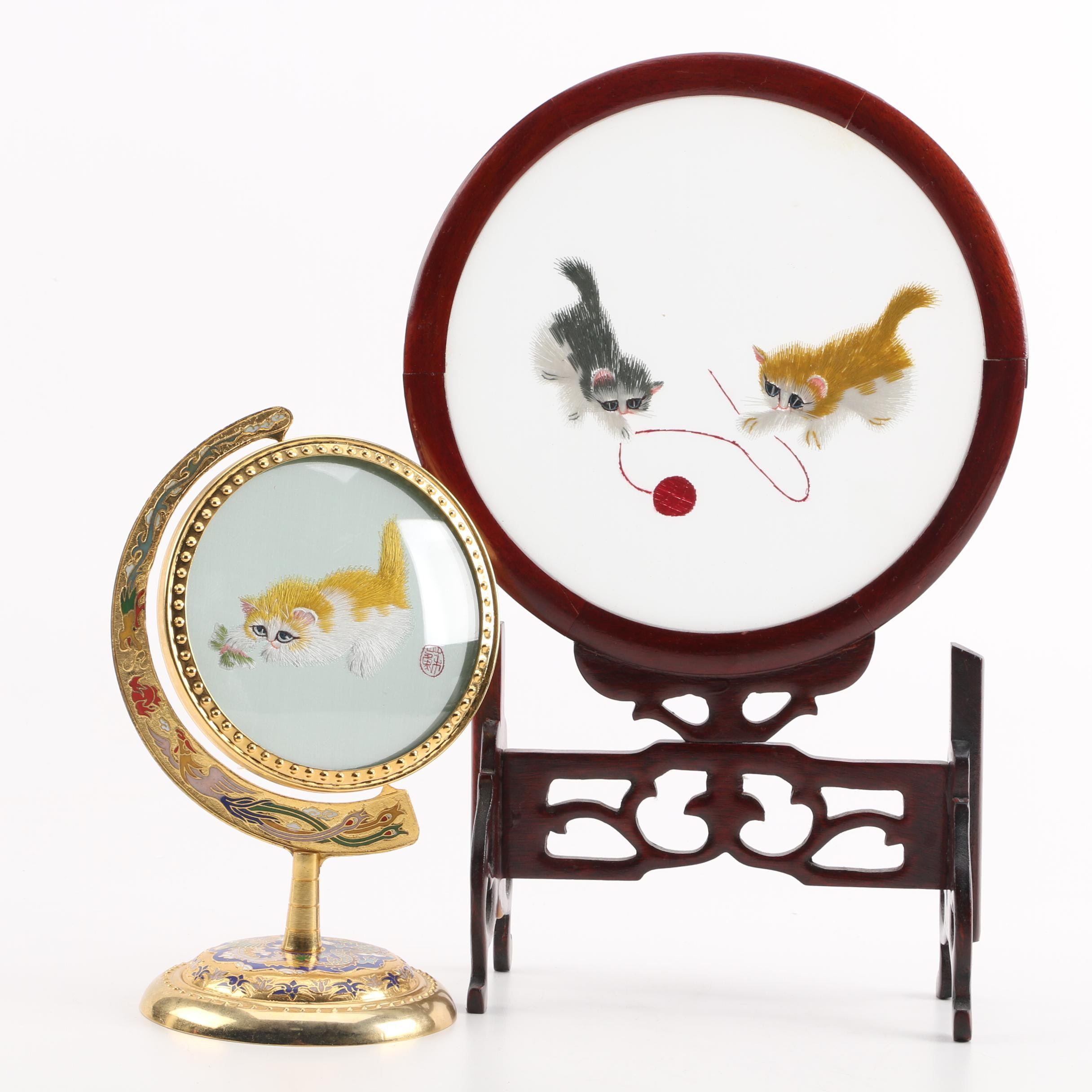 Chinese Embroidered Silk Cat Themed Table Screens