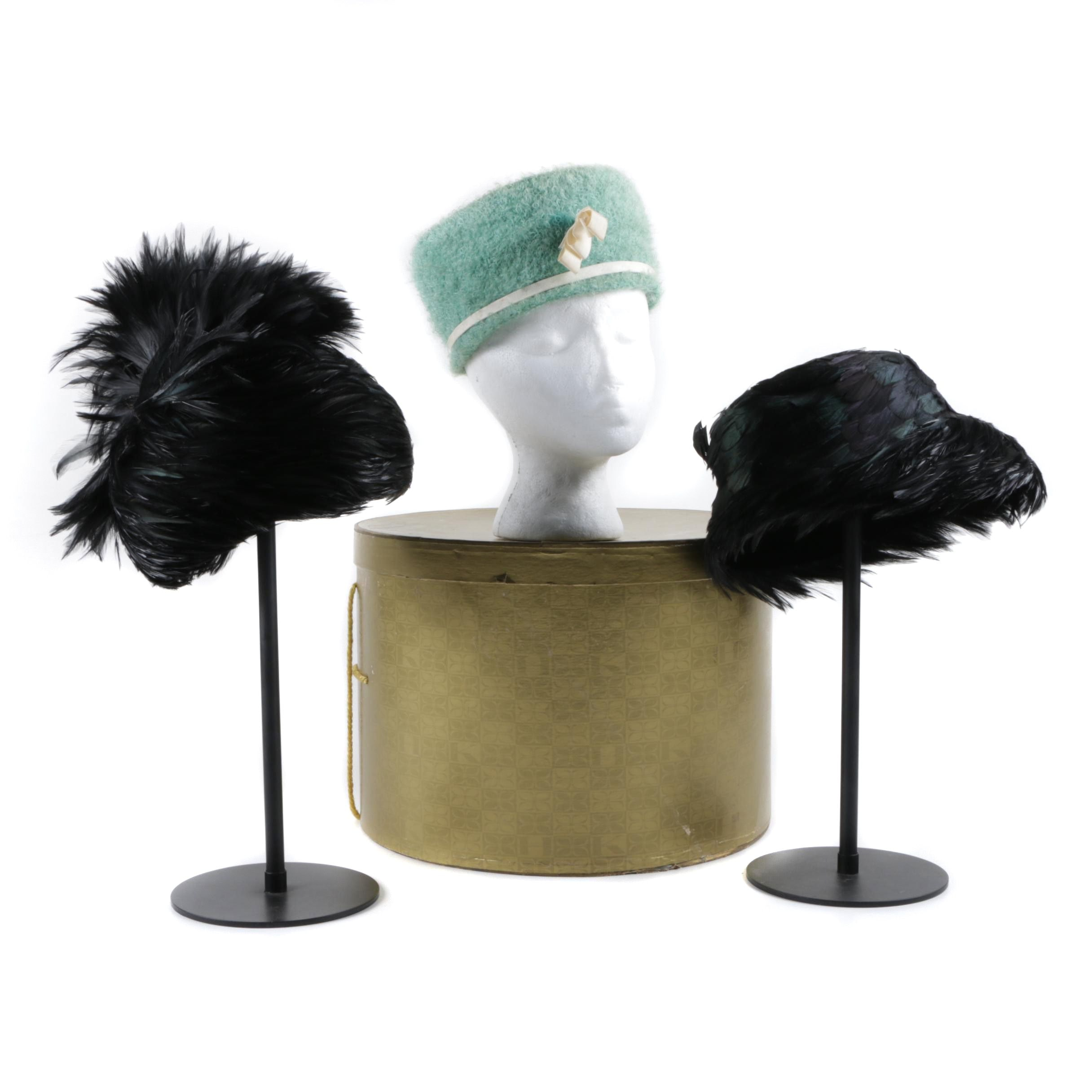 Women's Vintage Wool and Feathered Hats Including Arlette