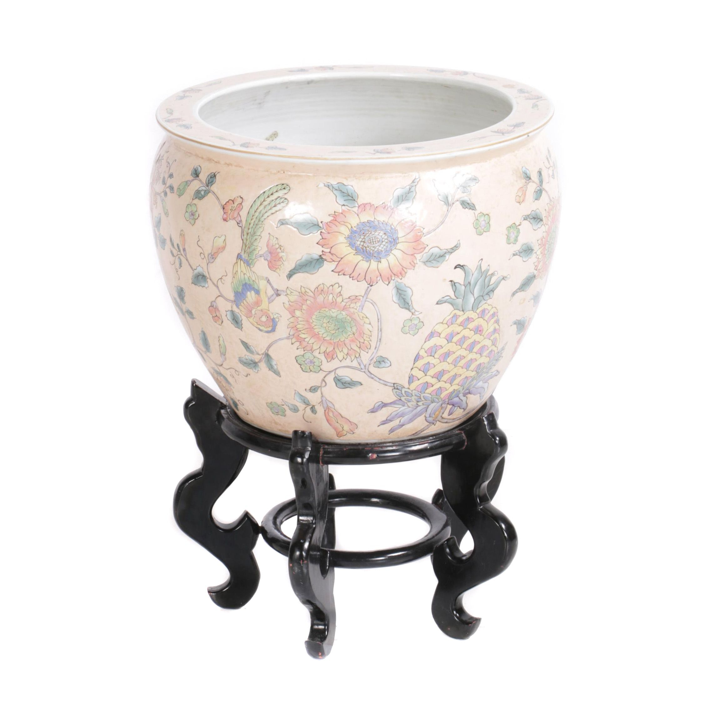 Decorative Asian Porcelain Fish Bowl Planter with Stand