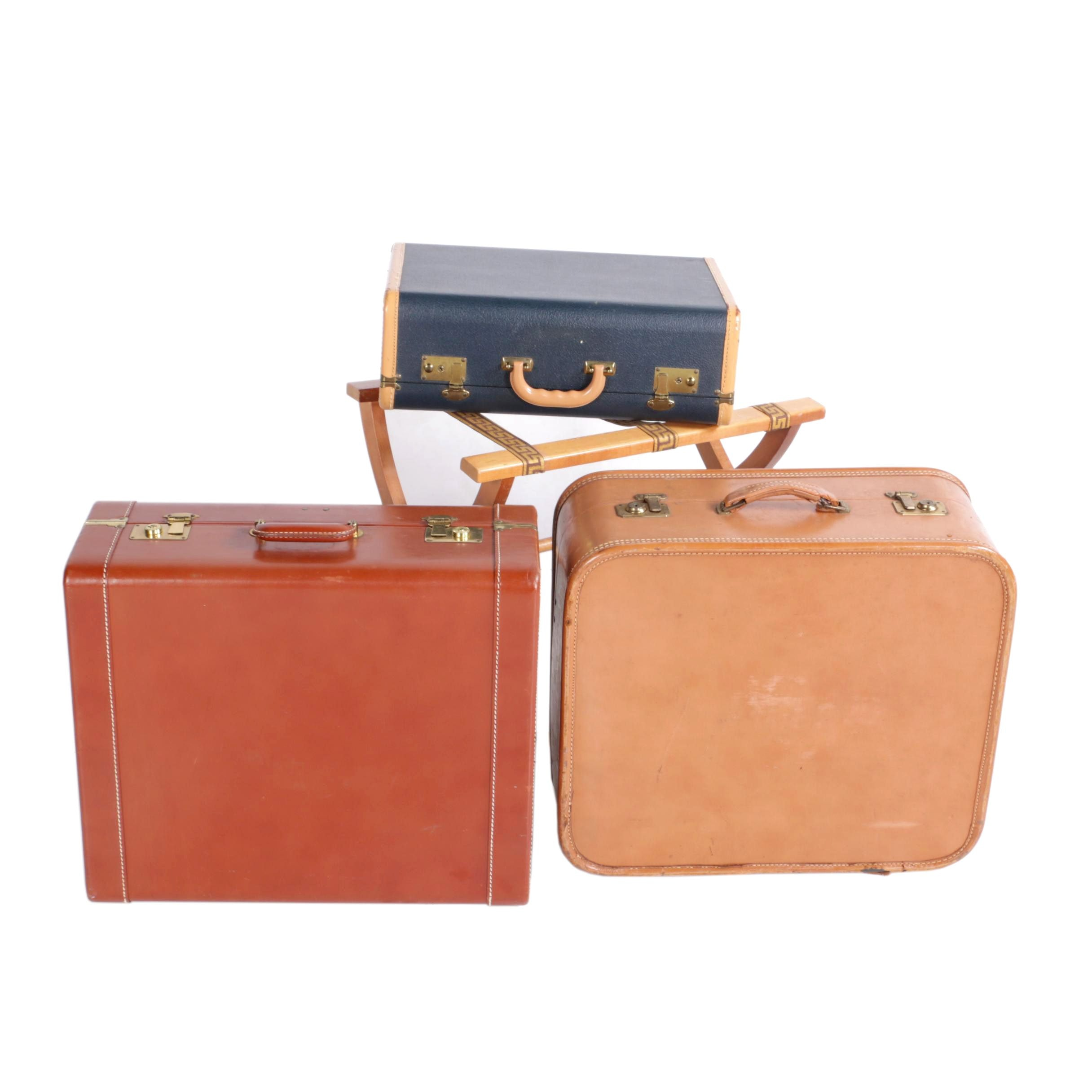 Vintage Suitcases and Folding Luggage Rack