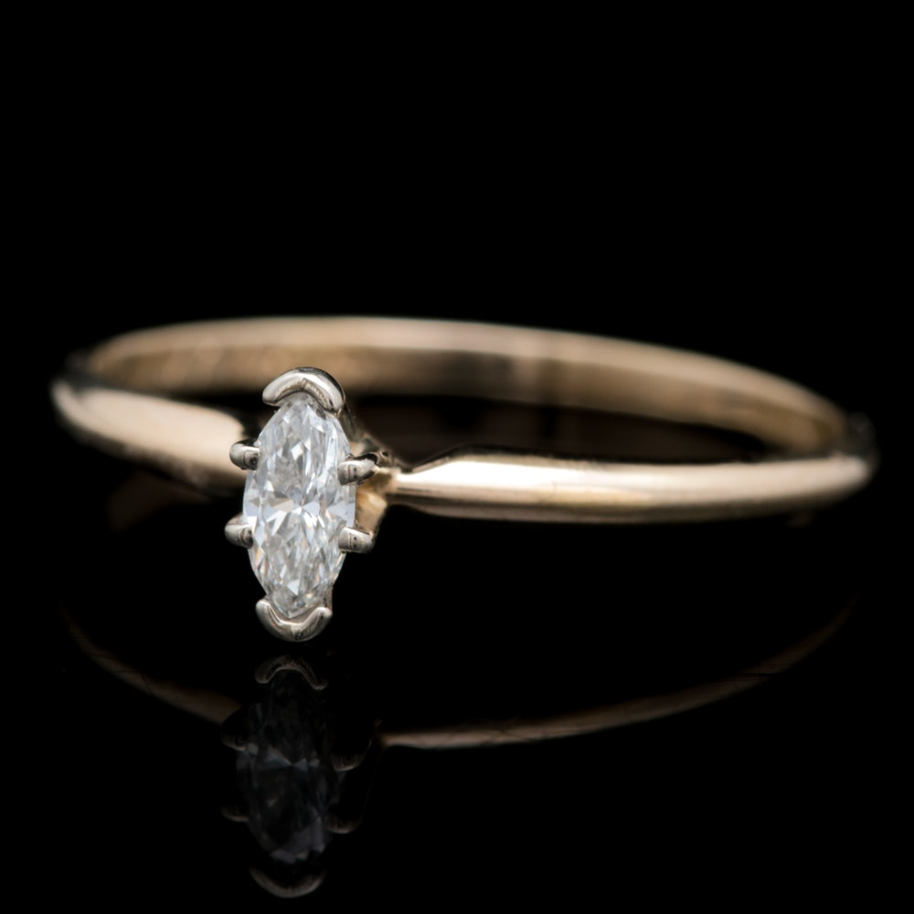 10K Yellow Gold and Marquise Diamond Solitaire Ring