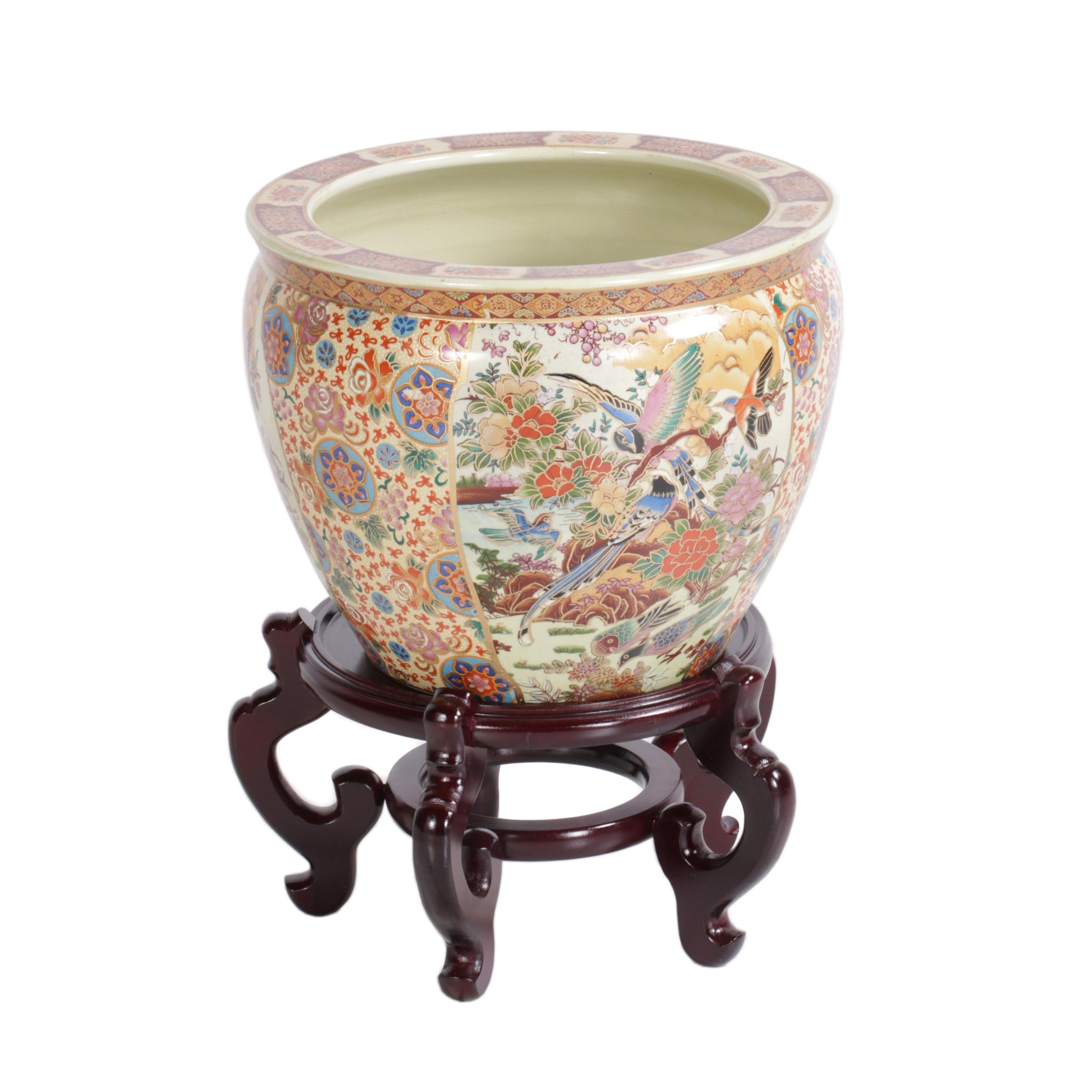 Decorative Asian Ceramic Planter on Wooden Stand