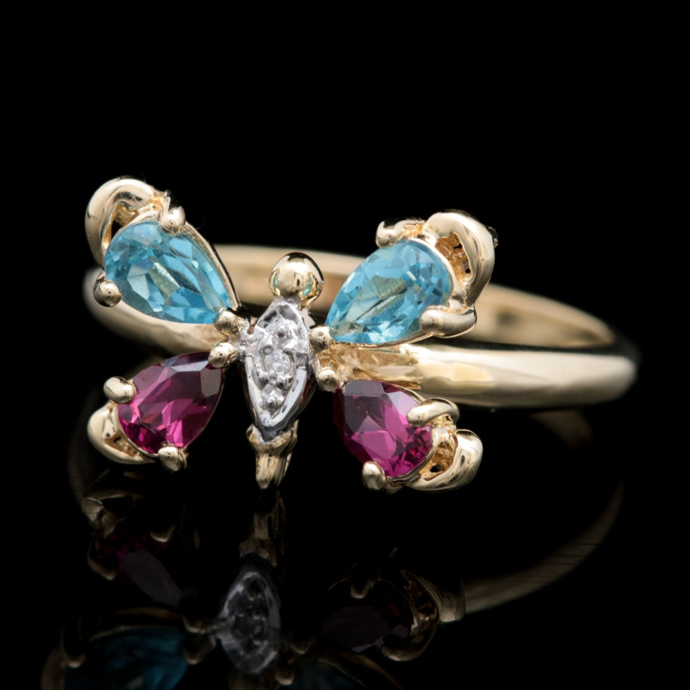 10K Yellow Gold, Blue Topaz, Garnet and Diamond Butterfly Ring