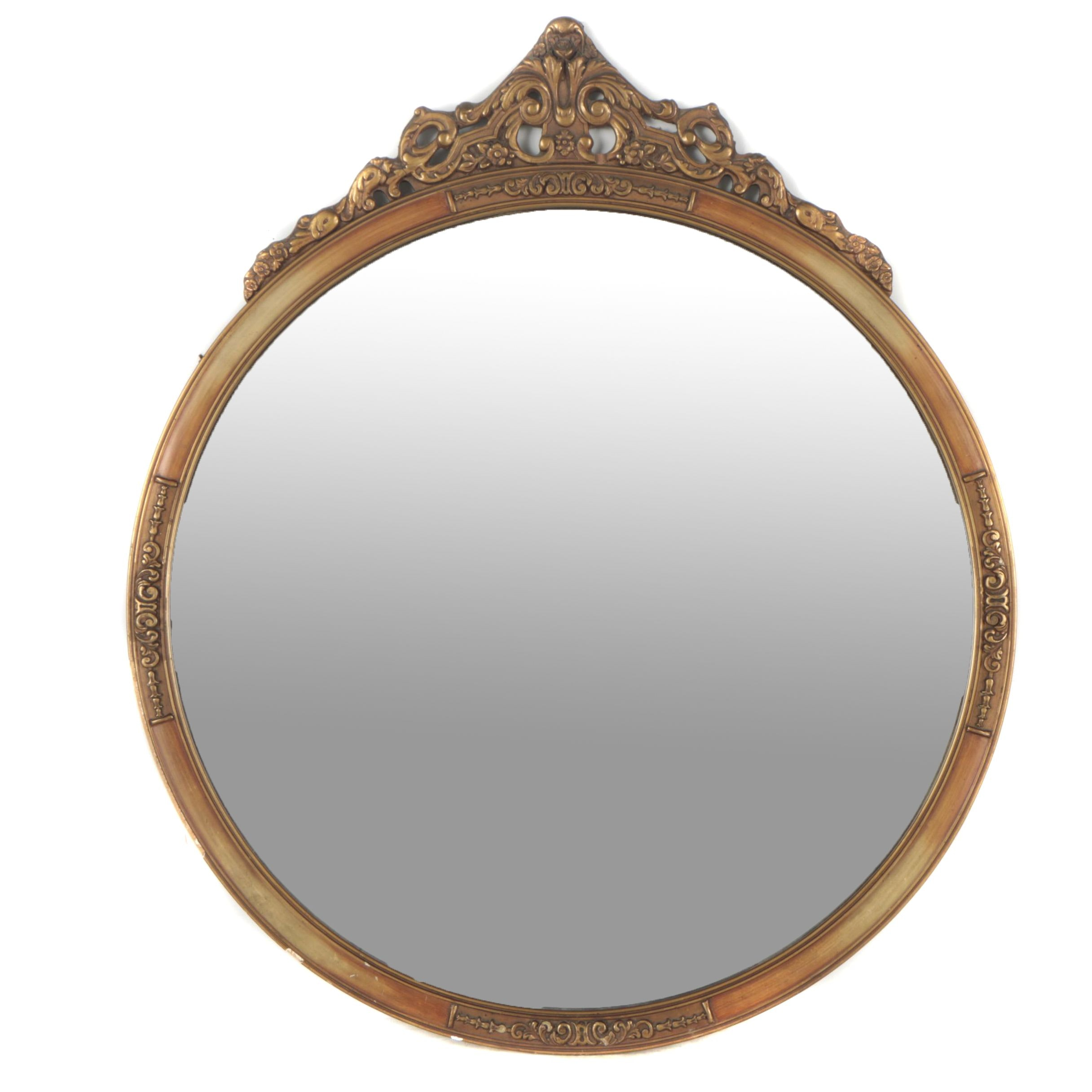 Famous Victorian Style Wood Round Wall Mirror : EBTH VM71