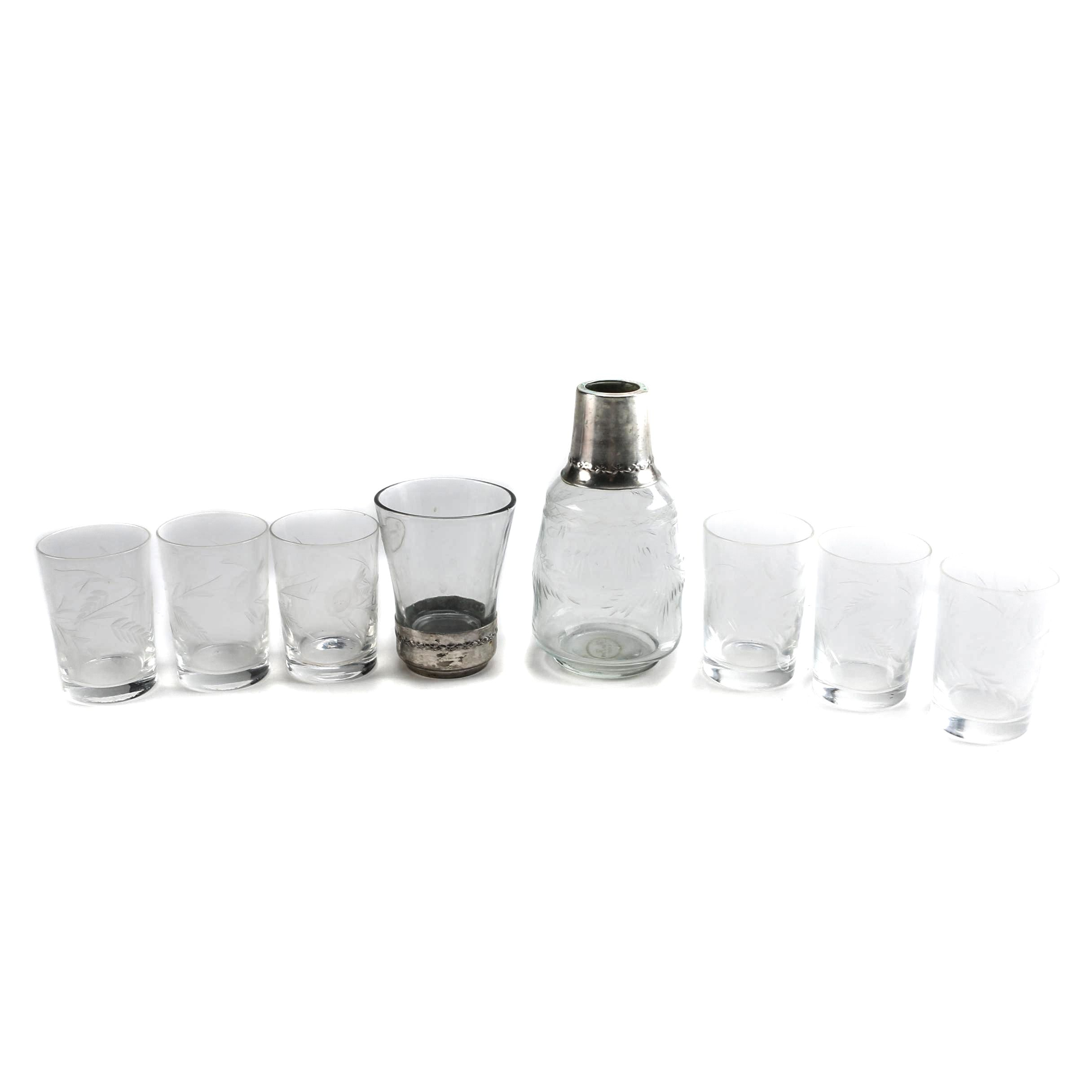 Collection of Etched Glassware and Bedside Carafe by Pom Pom Home