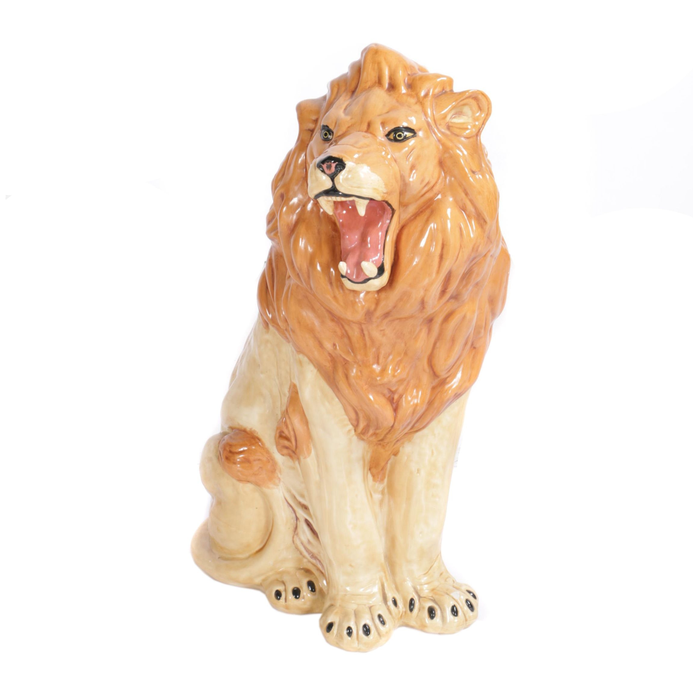 Seated Ceramic Lion Figurine by Crest Mold '73