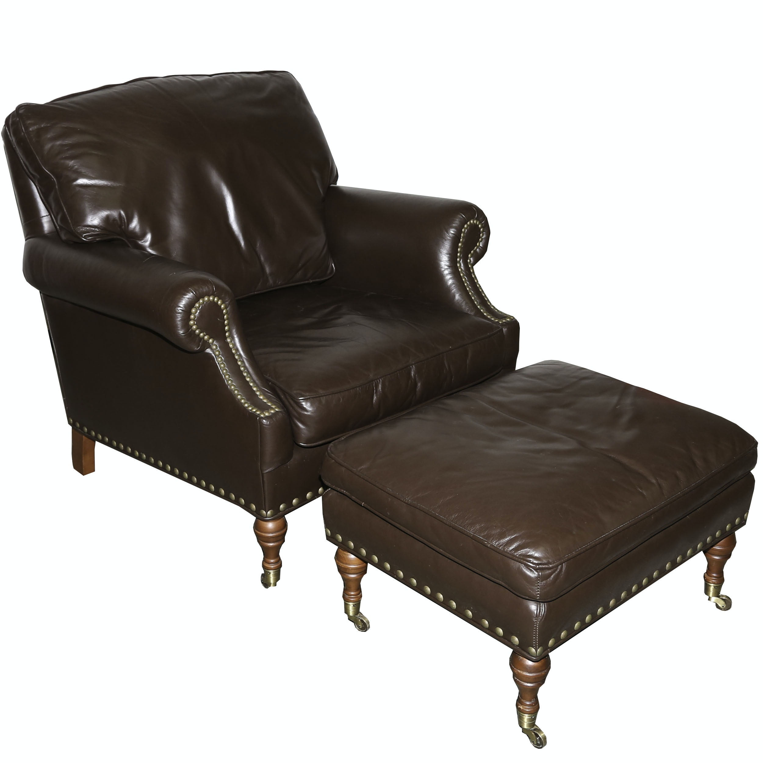 Leather Library Chair and Ottoman from McKinley Leather