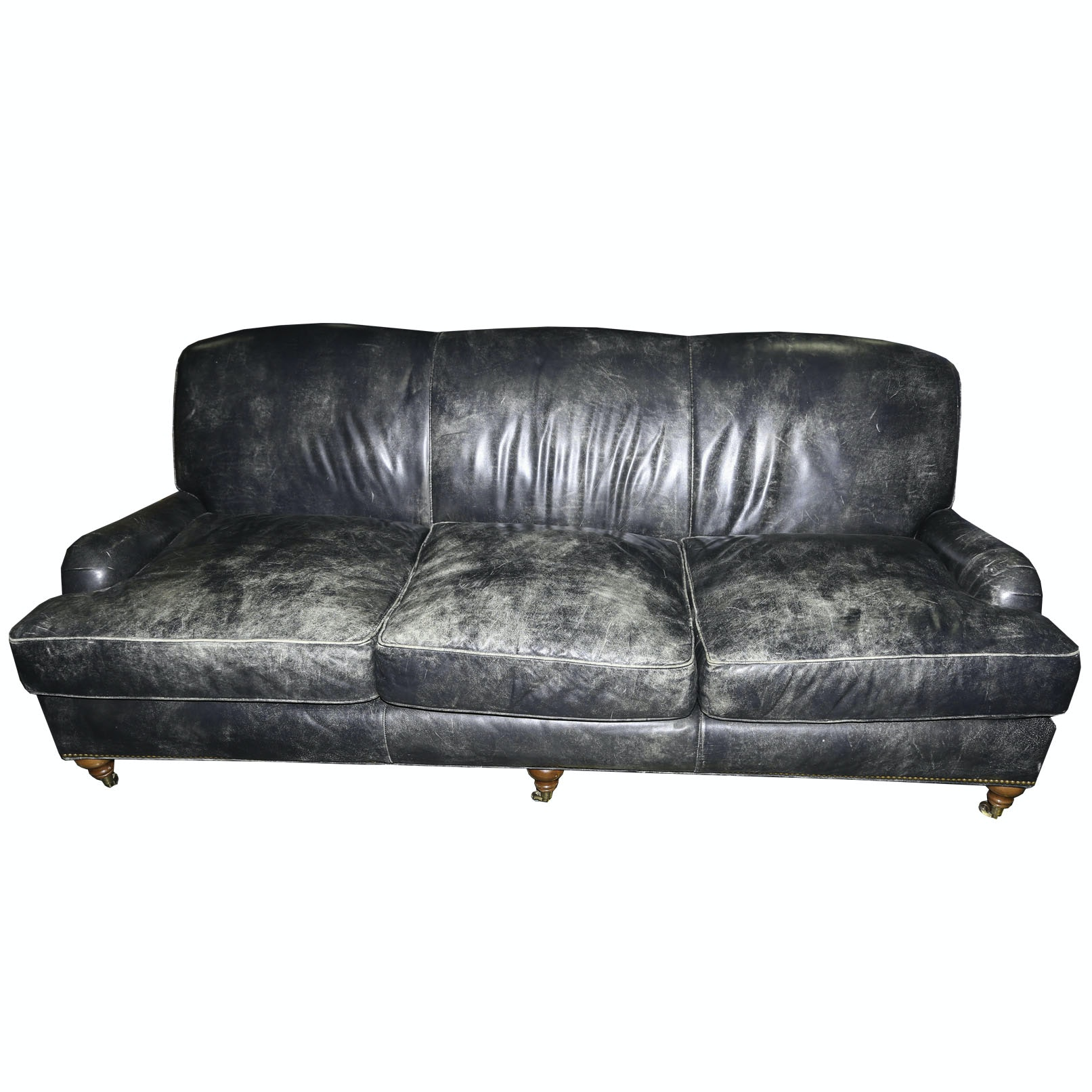Distressed Leather Sofa by Stanford Furniture