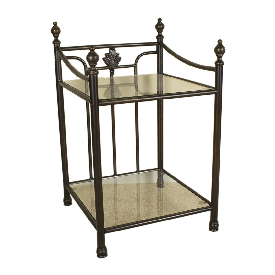 Glass and Metal Two Tier End Table